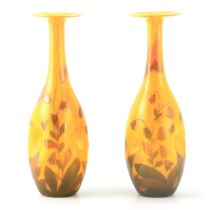 A FINE PAIR OF ART NOUVEAU SIGNED LOETZ YELLOW GROUND DIMPLED SLENDER OVOID GLASS CABINET VASES with