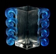 A 20TH CENTURY R. LALIQUE BLUE STAINED RHEIMS GLASS VASE of diamond shape with stylised shells to