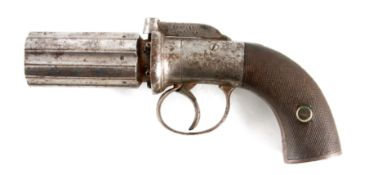 BENTLEY, LIVERPOOL A MID 19TH CENTURY SIX SHOT PEPPERBOX REVOLVER with signed self cocking bar