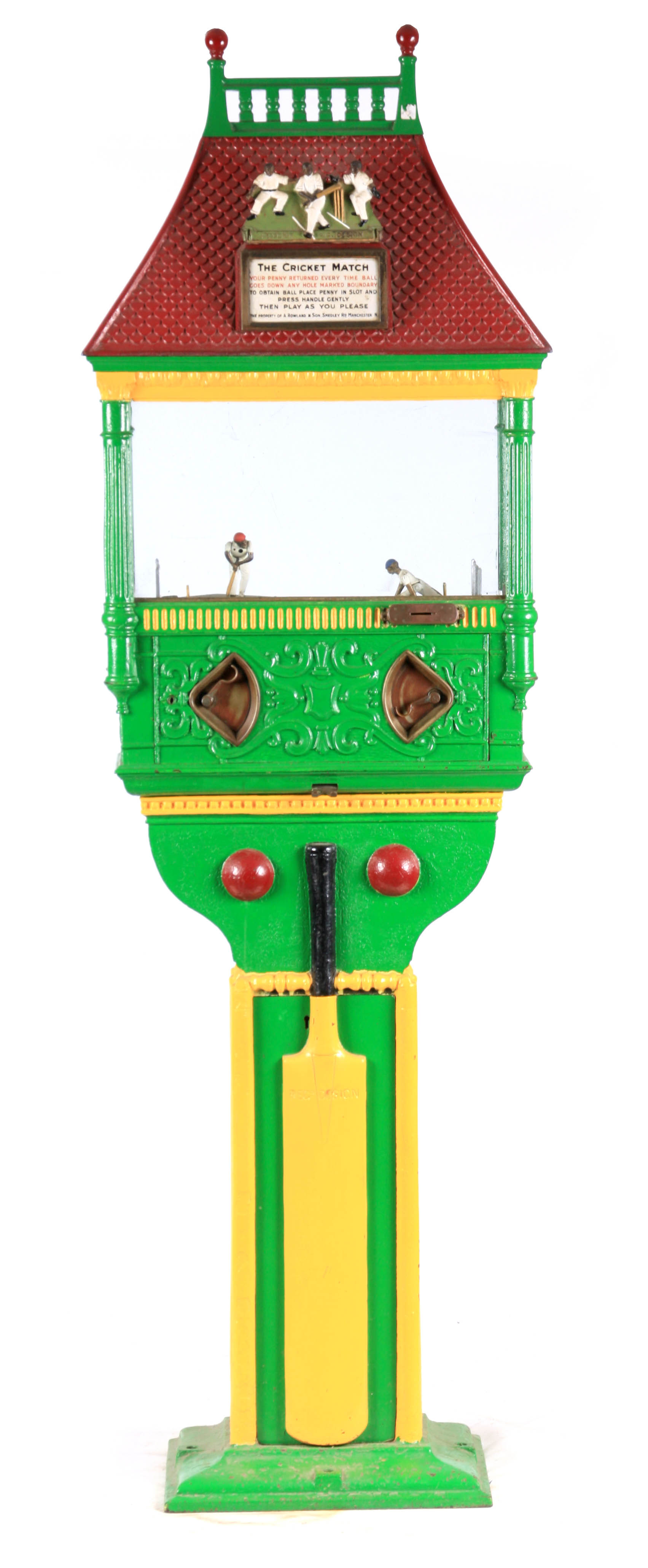 A LATE 19TH CENTURY PAINTED CAST IRON 'PENNY IN THE SLOT' CRICKET ARCADE MACHINE with tile effect