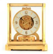 A 1970's JAEGER-LECOULTRE ATMOS CLOCK the glazed gilt case with canted corners enclosing a