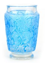 A 20TH CENTURY R. LALIQUE BLUE STAINED DEAUVILLE GLASS VASE - stamped R. Lalique France 14cm high