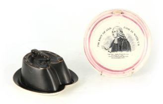 A 19TH CENTURY SUNDERLAND TYPE CERAMIC WALL PLAQUE RELATING TO REV. JOHN WESLEY, A.M. with