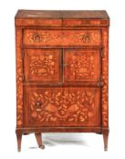 AN 18TH CENTURY DUTCH MARQUETRY WALNUT WASHSTAND with hinged top revealing compartments for wash