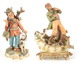 A NAPLES CAPODIMONTE FIGURE OF A FLY FISHERMAN on cast gilt brass oval rococo base 33cm high