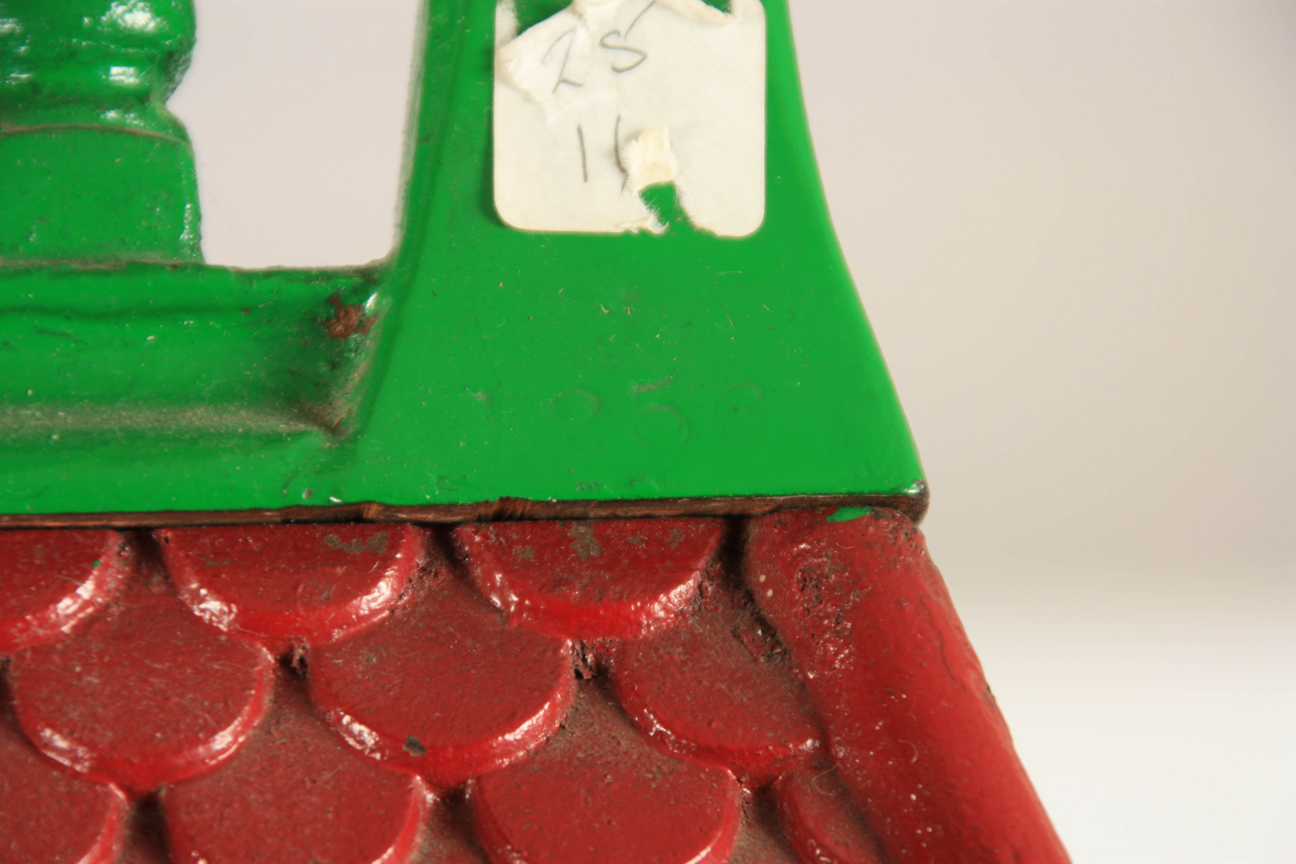 A LATE 19TH CENTURY PAINTED CAST IRON 'PENNY IN THE SLOT' CRICKET ARCADE MACHINE with tile effect - Image 14 of 14