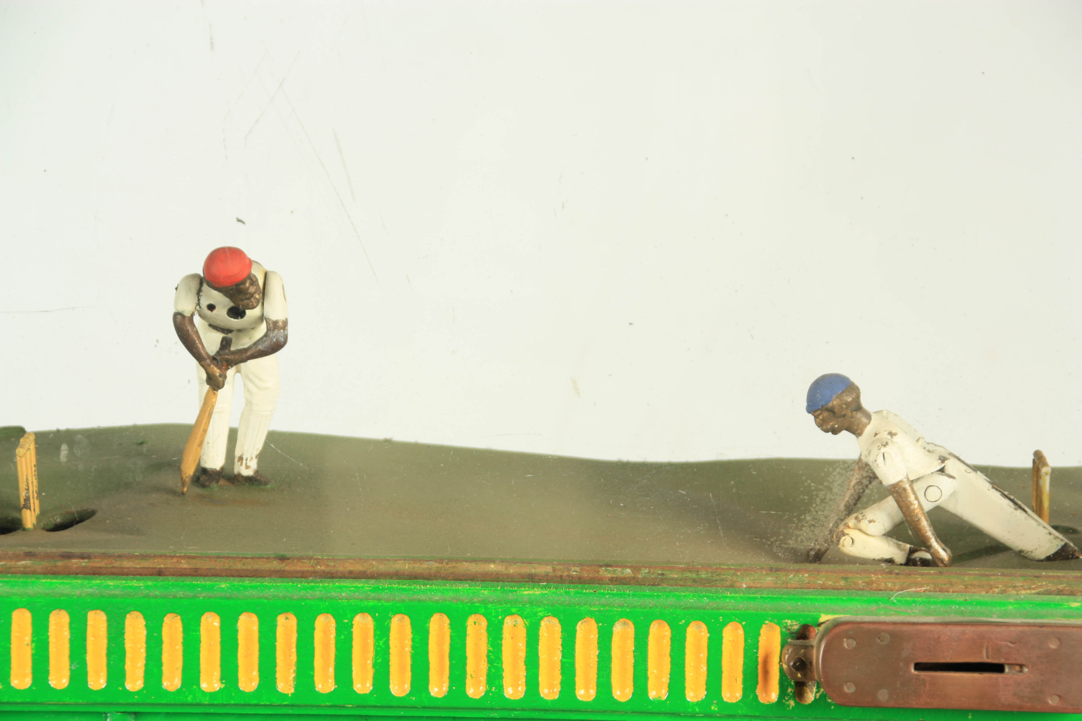 A LATE 19TH CENTURY PAINTED CAST IRON 'PENNY IN THE SLOT' CRICKET ARCADE MACHINE with tile effect - Image 8 of 14
