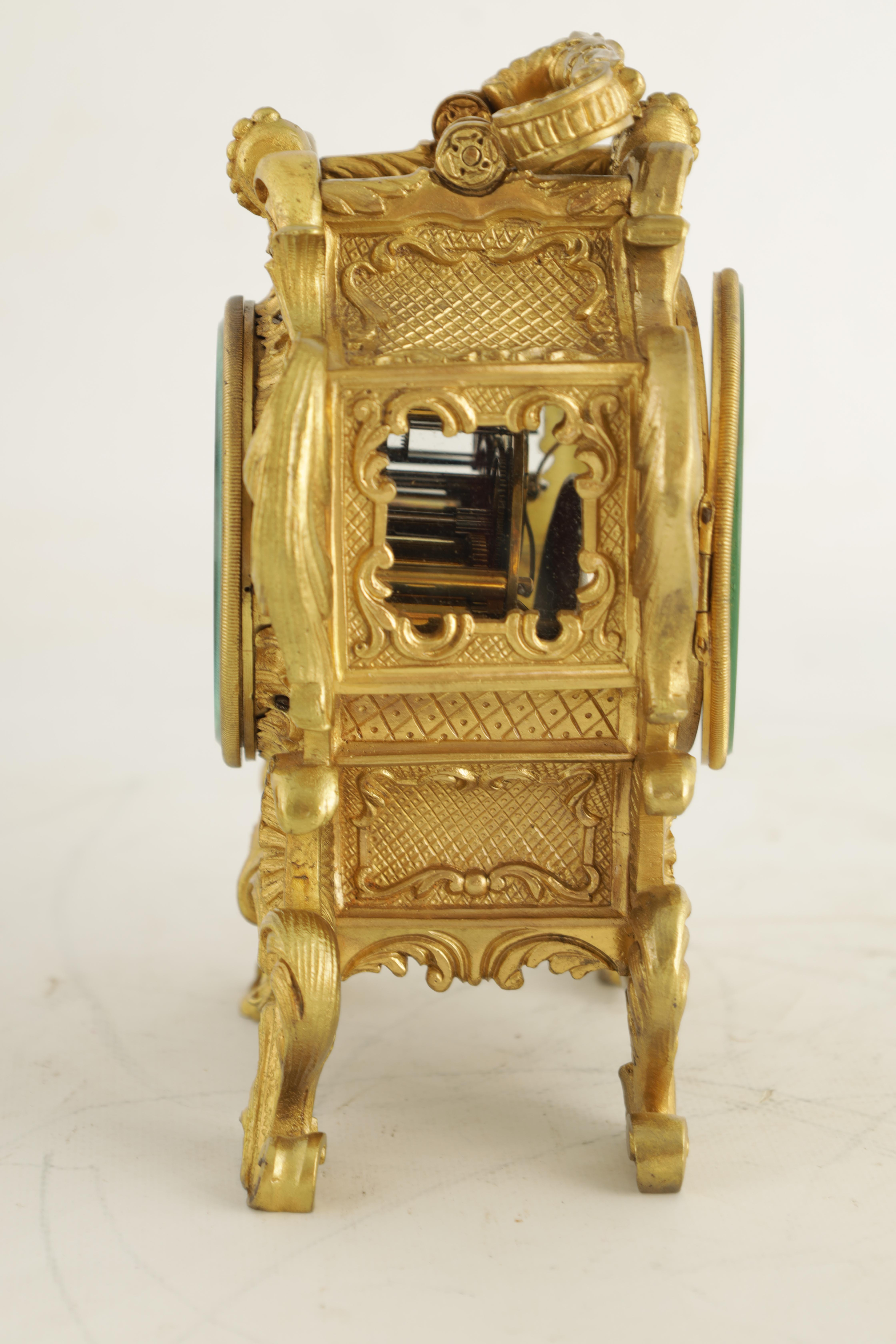 PAUL GARNIER, PARIS A MID 19TH CENTURY FRENCH TRAVELLING MANTEL CLOCK the gilt bronze rococo style - Image 13 of 13