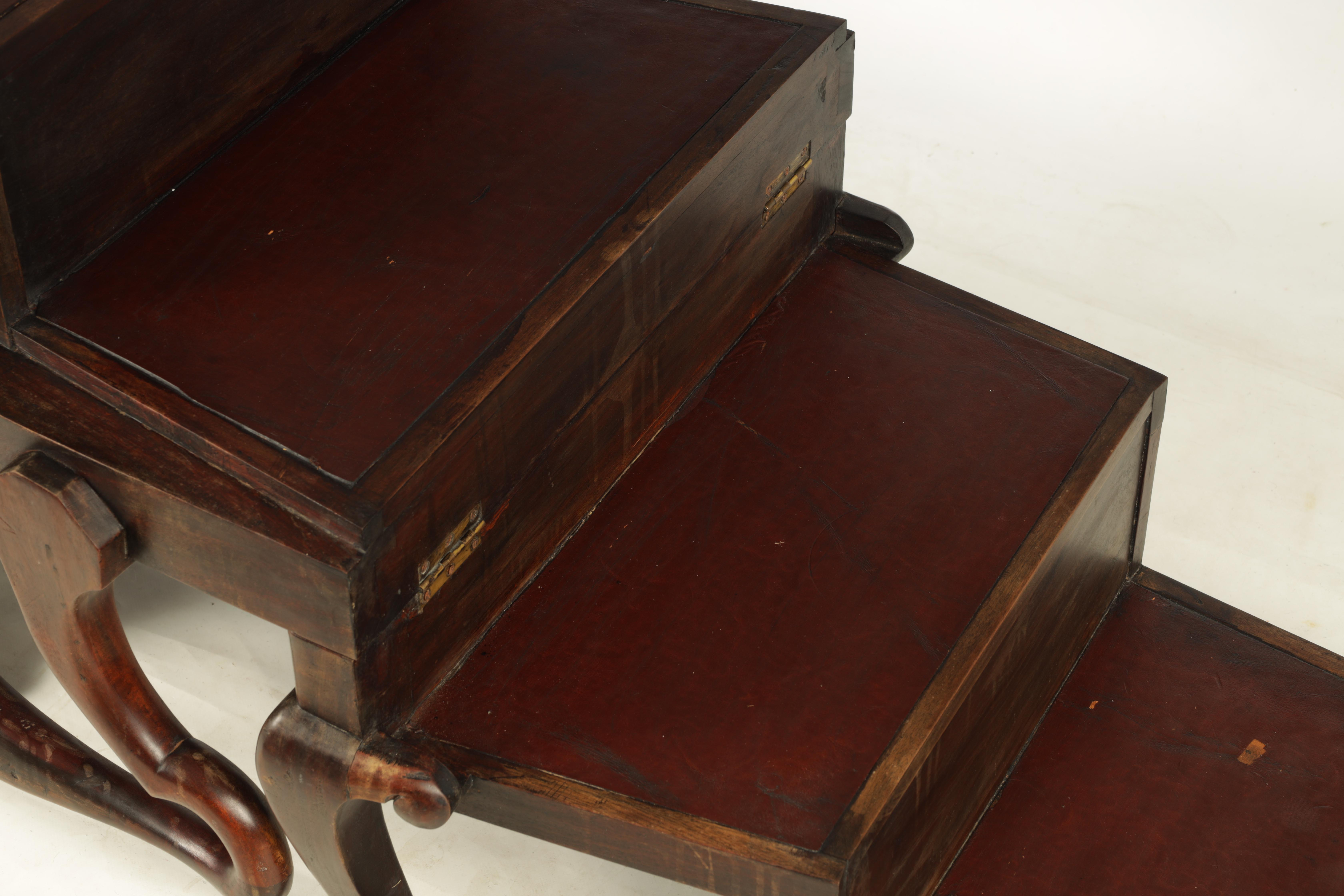 A 19TH CENTURY GEORGE II STYLE METAMORPHIC ARMCHAIR/LIBRARY STEPS with shaped back and crook arms - Image 7 of 8
