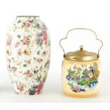A WILTSHAW AND ROBINSON CARLTON WARE LARGE OVOID VASE with chintz decoration of delicate flower