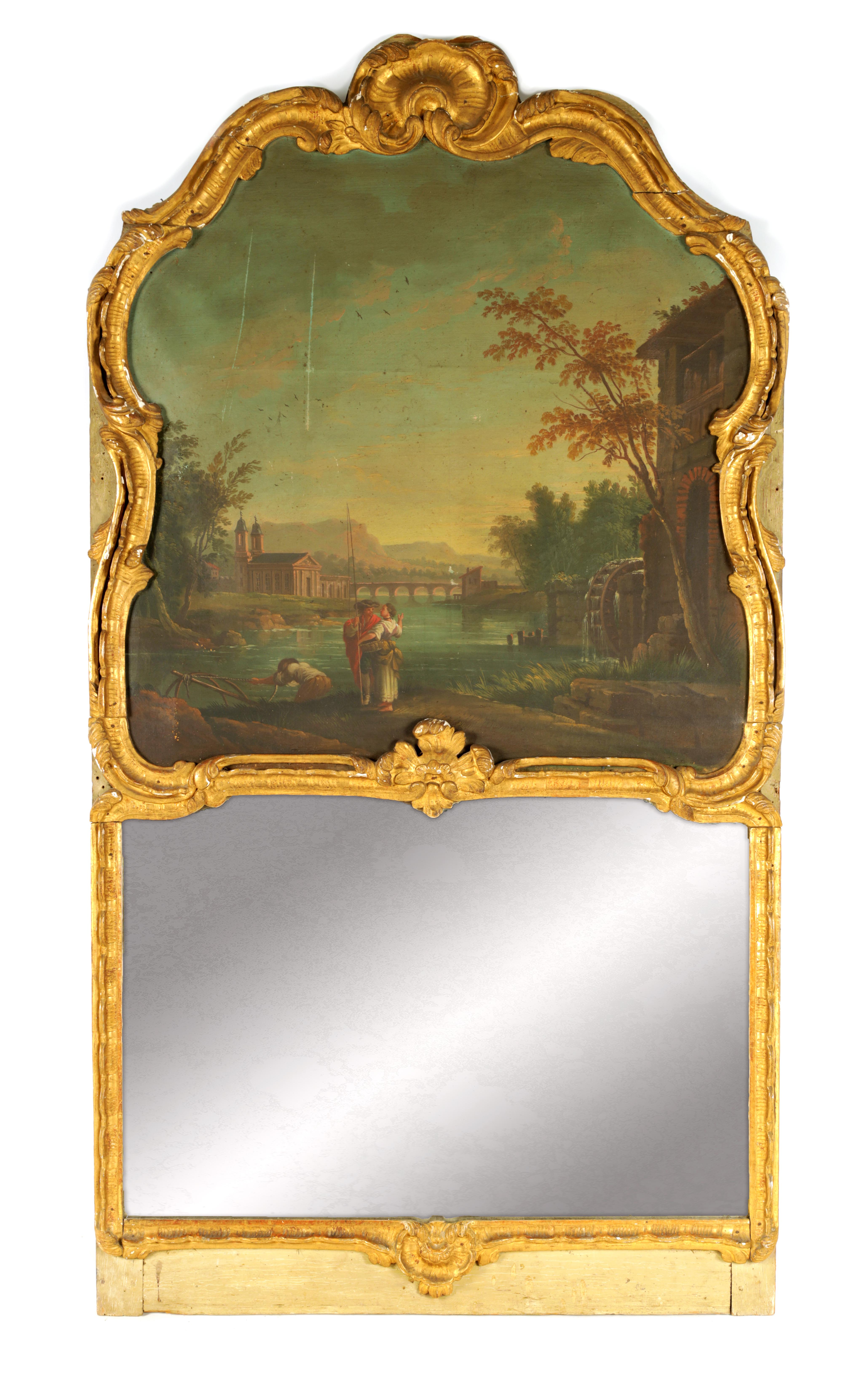 AN EARLY 18TH CENTURY CONTINENTAL GILTWOOD ROCOCO STYLE PIER MIRROR with leaf work carved frame