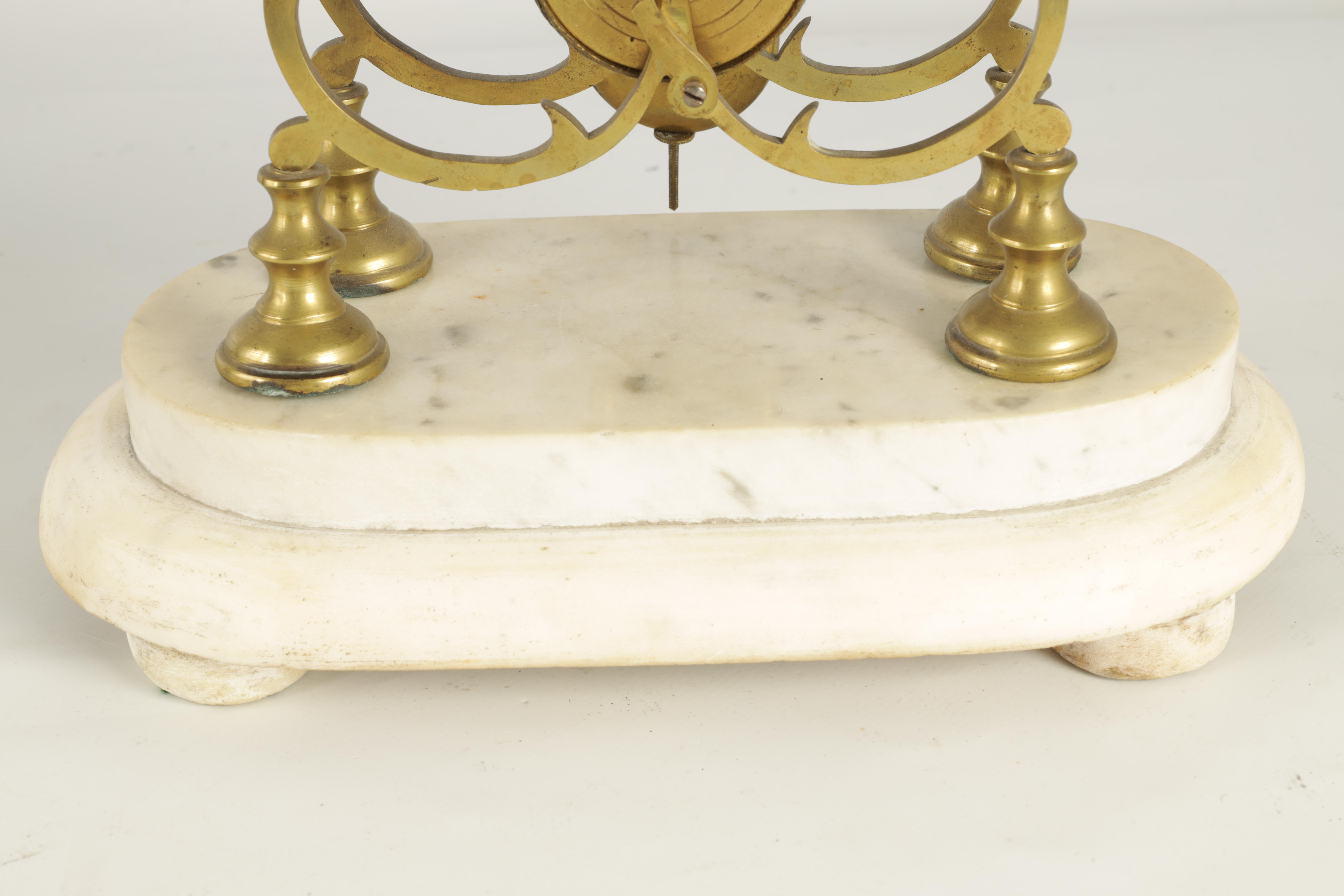 A 19TH CENTURY BRASS SINGLE FUSEE 8-DAY SKELETON CLOCK with liar shaped frame joined by four - Image 4 of 7