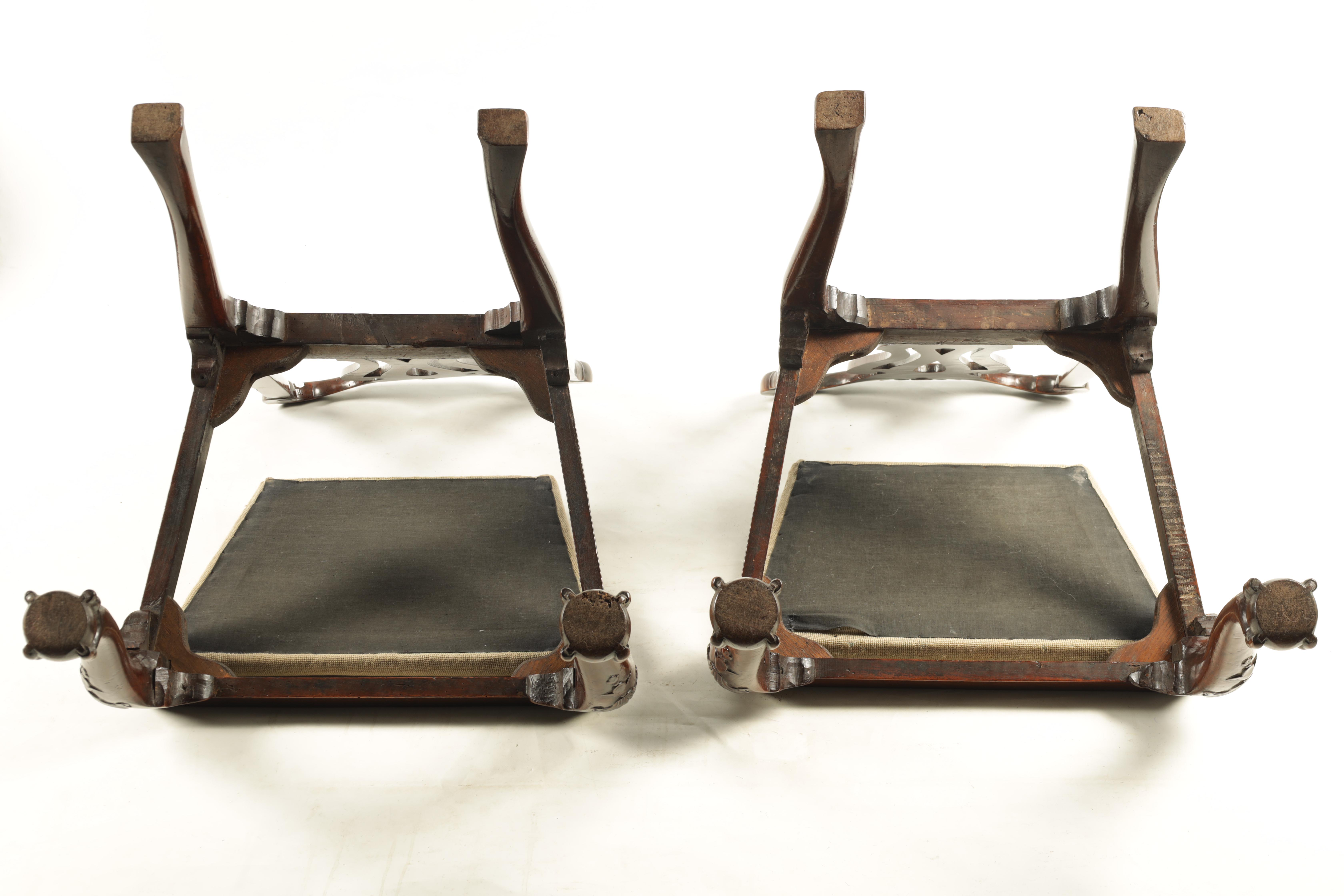 A PAIR OF GEORGE I WALNUT SIDE CHAIRS with leaf carved and scrolled top rails above vase-shaped - Image 10 of 12