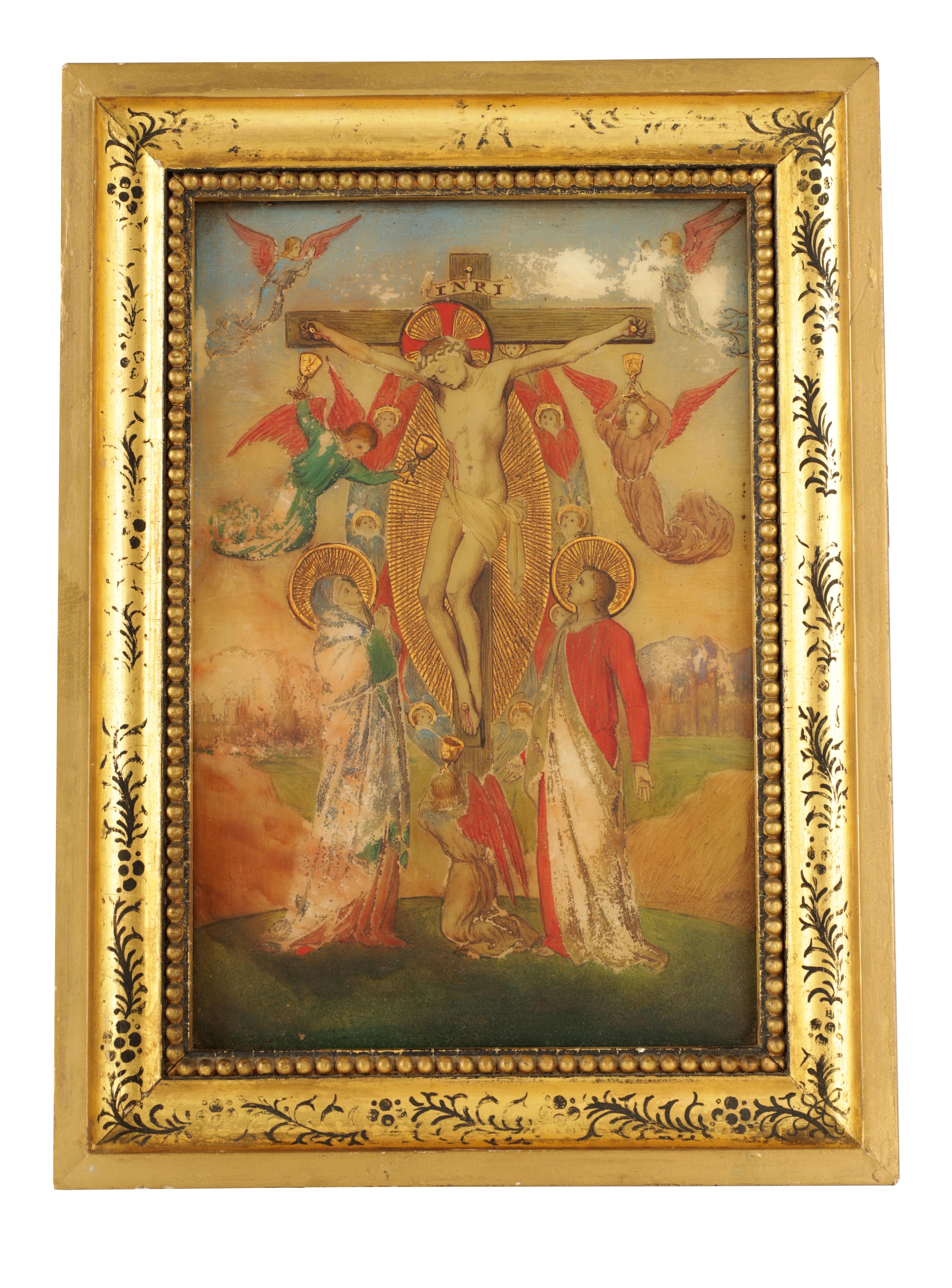 A 19TH CENTURY OIL ON ONYX PANEL.The crucifixion of Christ 22cm high, 14.5cm wide - in gilt