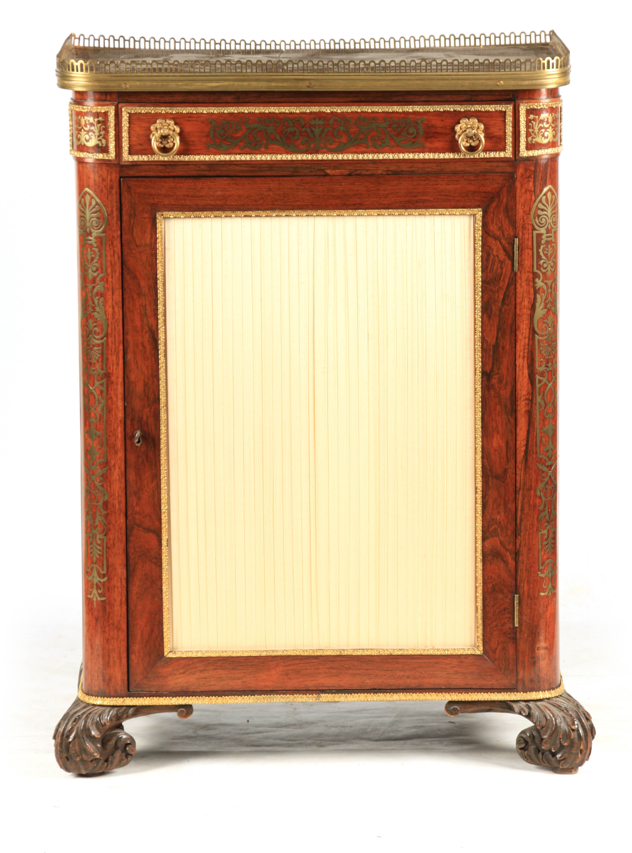 A FINE REGENCY BRASS INLAID ROSEWOOD SIDE CABINET IN THE MANNER OF JOHN MCCLEAN the brass
