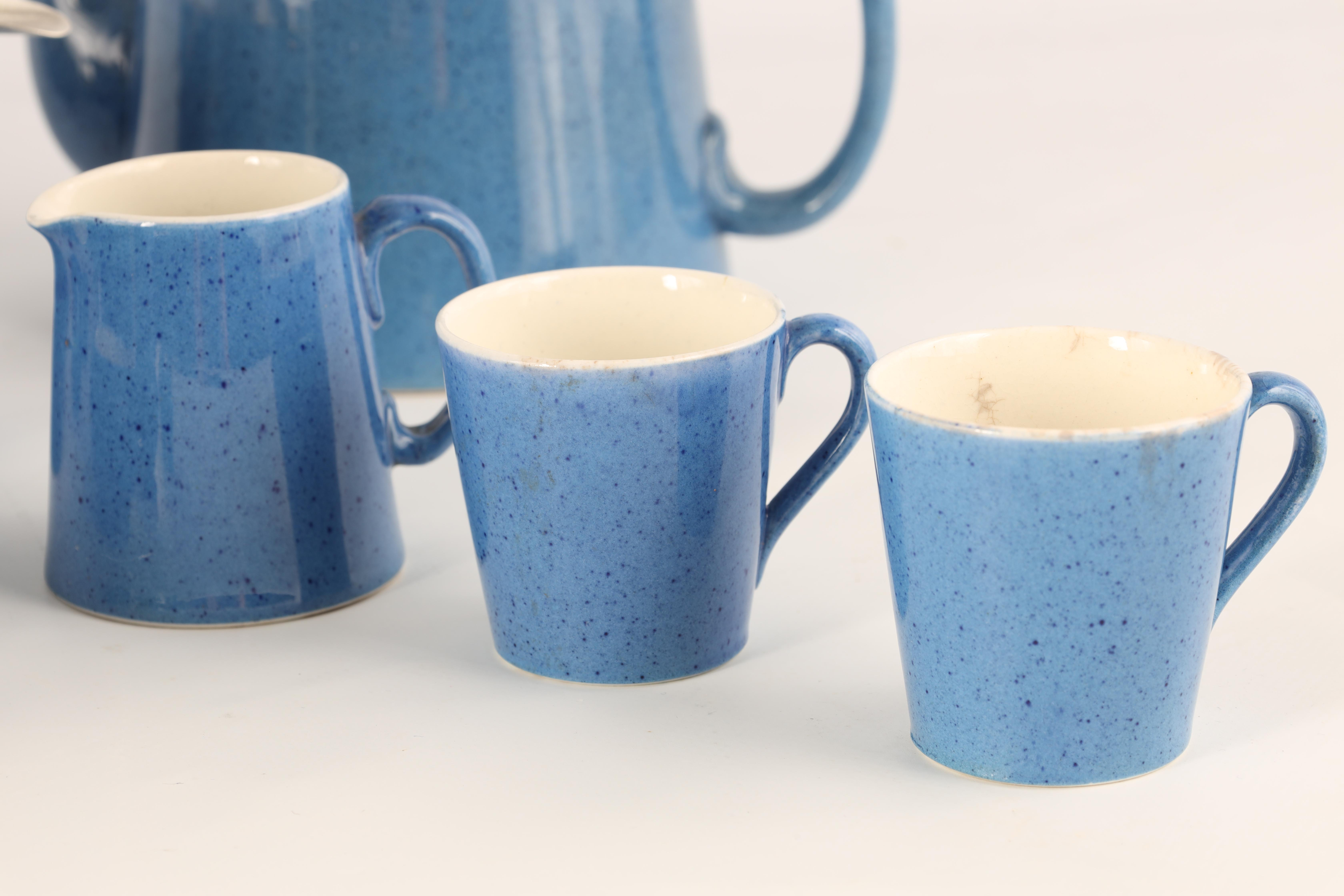 A MOORCROFT BURSLEM 27 PIECE TEA AND COFFEE SERVICE plain blue and mottled ground and comprising - Image 5 of 10