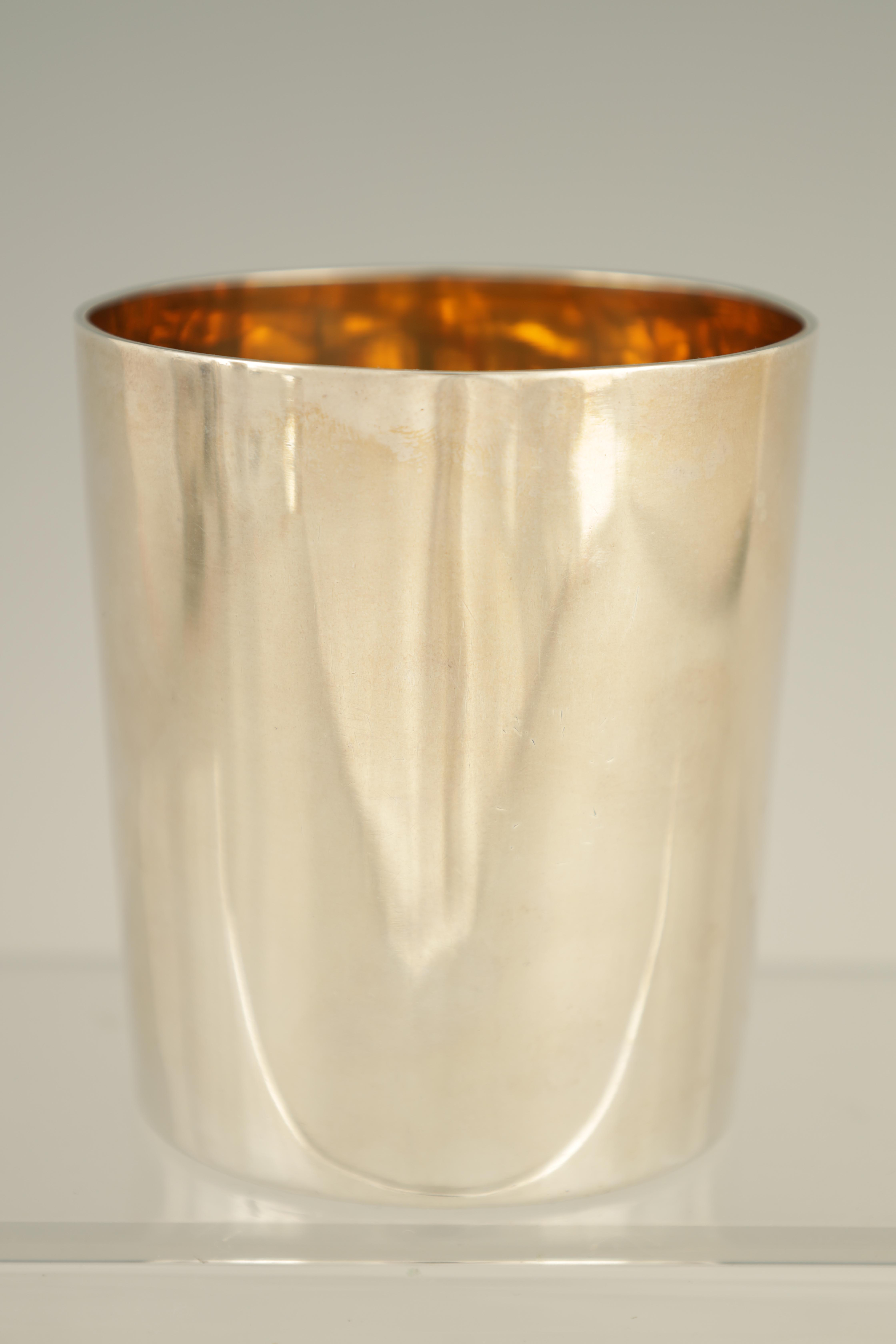 A GEORGE III SILVER BEAKER with gilt interior and coat of arms to the front, London 1802 9cm high - Image 2 of 5