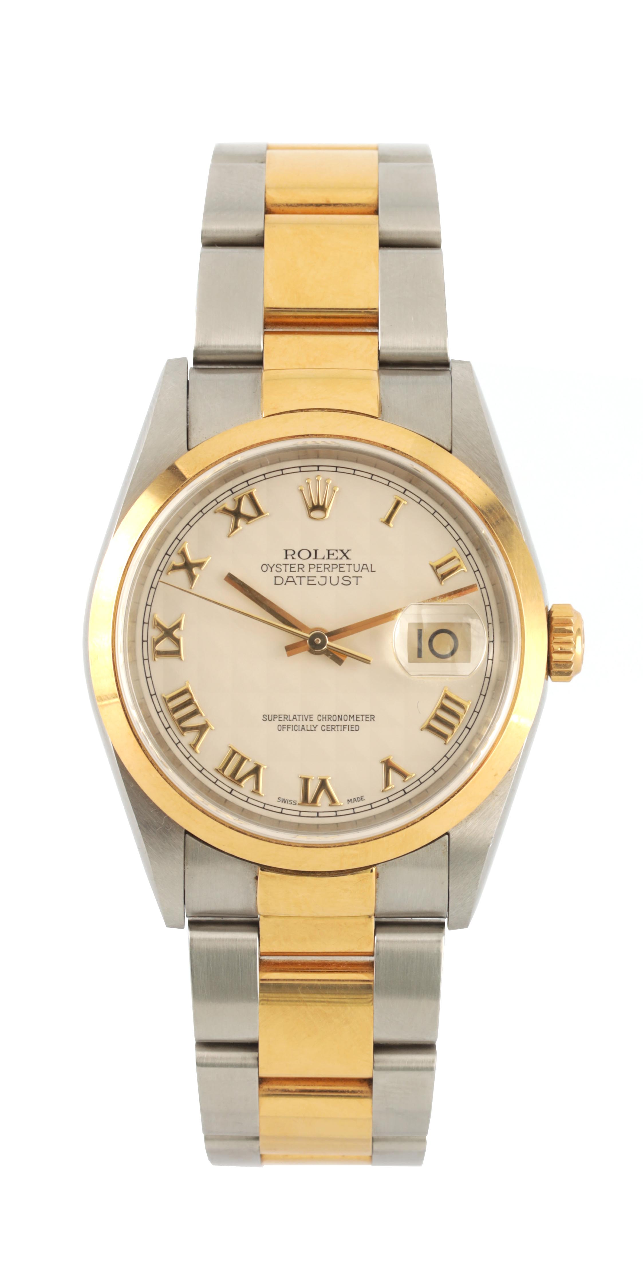 A GENTLEMAN'S STEEL AND 18CT GOLD ROLEX OYSTER PERPETUAL DATEJUST WRISTWATCH having an ivory pyramid