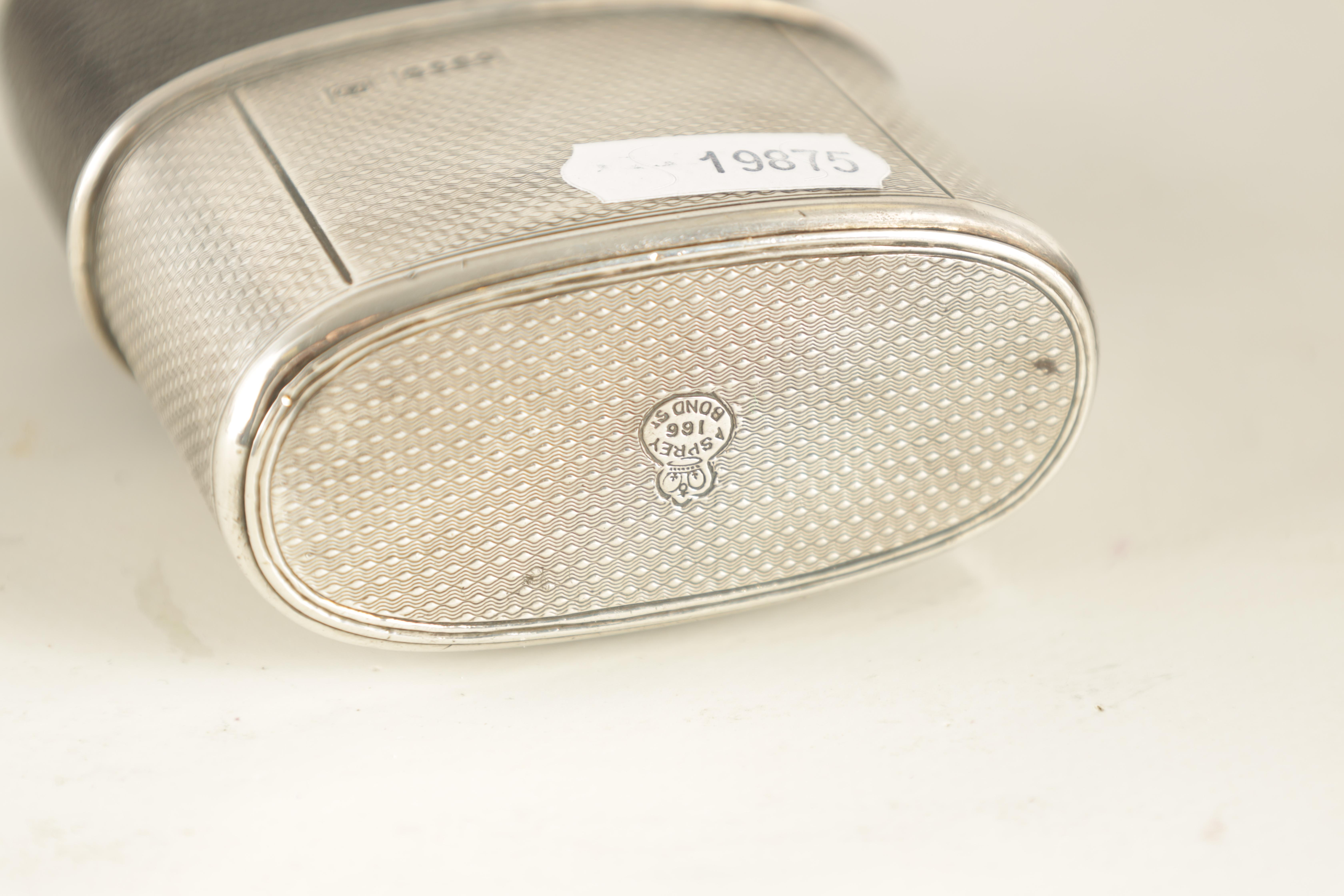 A VICTORIAN SILVER AND MOROCCAN LEATHER HIP FLASK RETAILED BY ASPREY 186 BOND STREET with engine- - Image 7 of 8