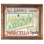 """A 20TH CENTURY """"ALL RANKS SMOKE MARCELLA CIGARS"""" FRAMED ADVERTISING MIRROR 67cm wide 55cm high"""