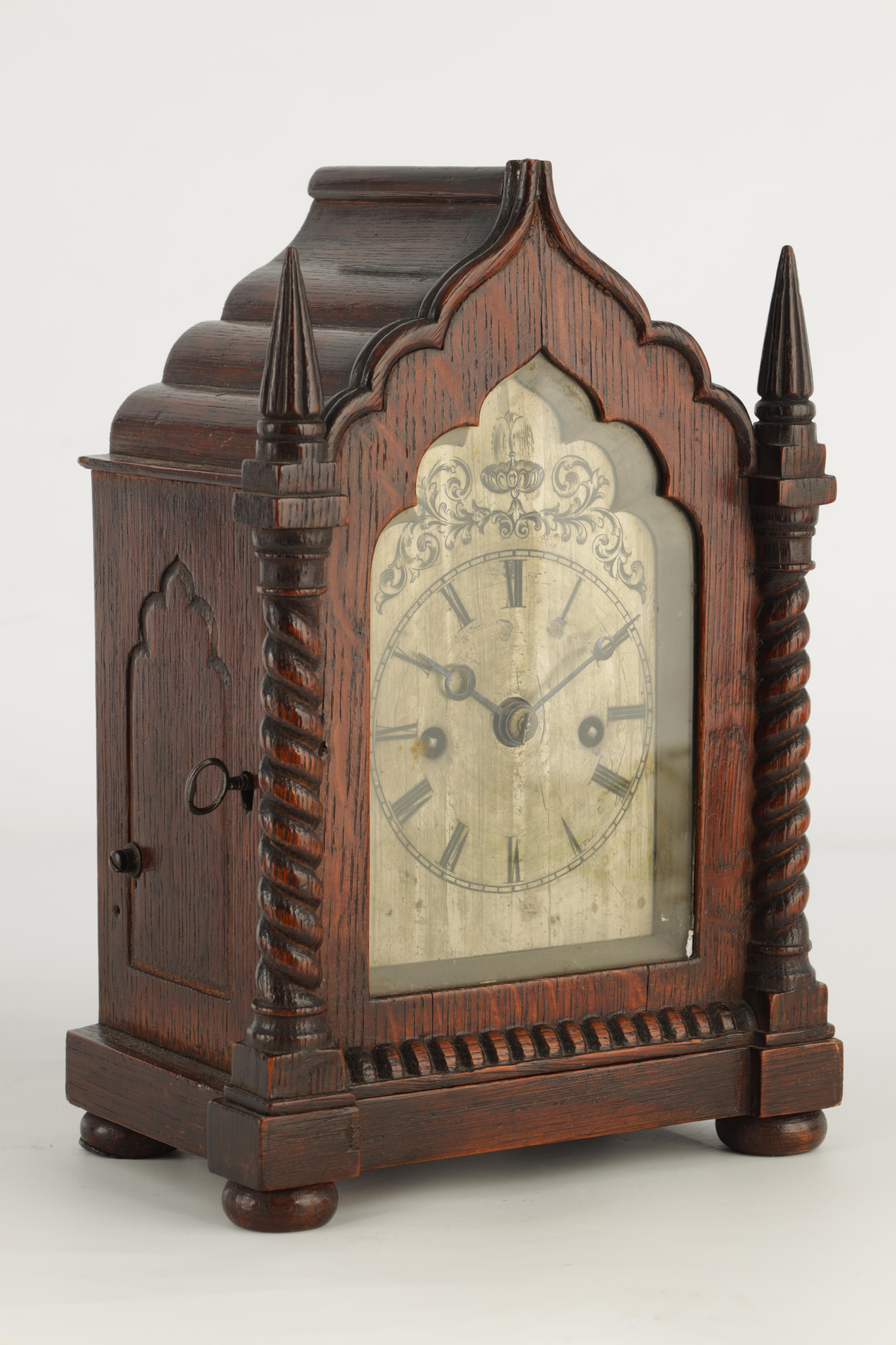 A SMALL MID 19TH CENTURY OAK CASED DOUBLE FUSEE MANTEL CLOCK the gothic style case with twisted - Image 2 of 7