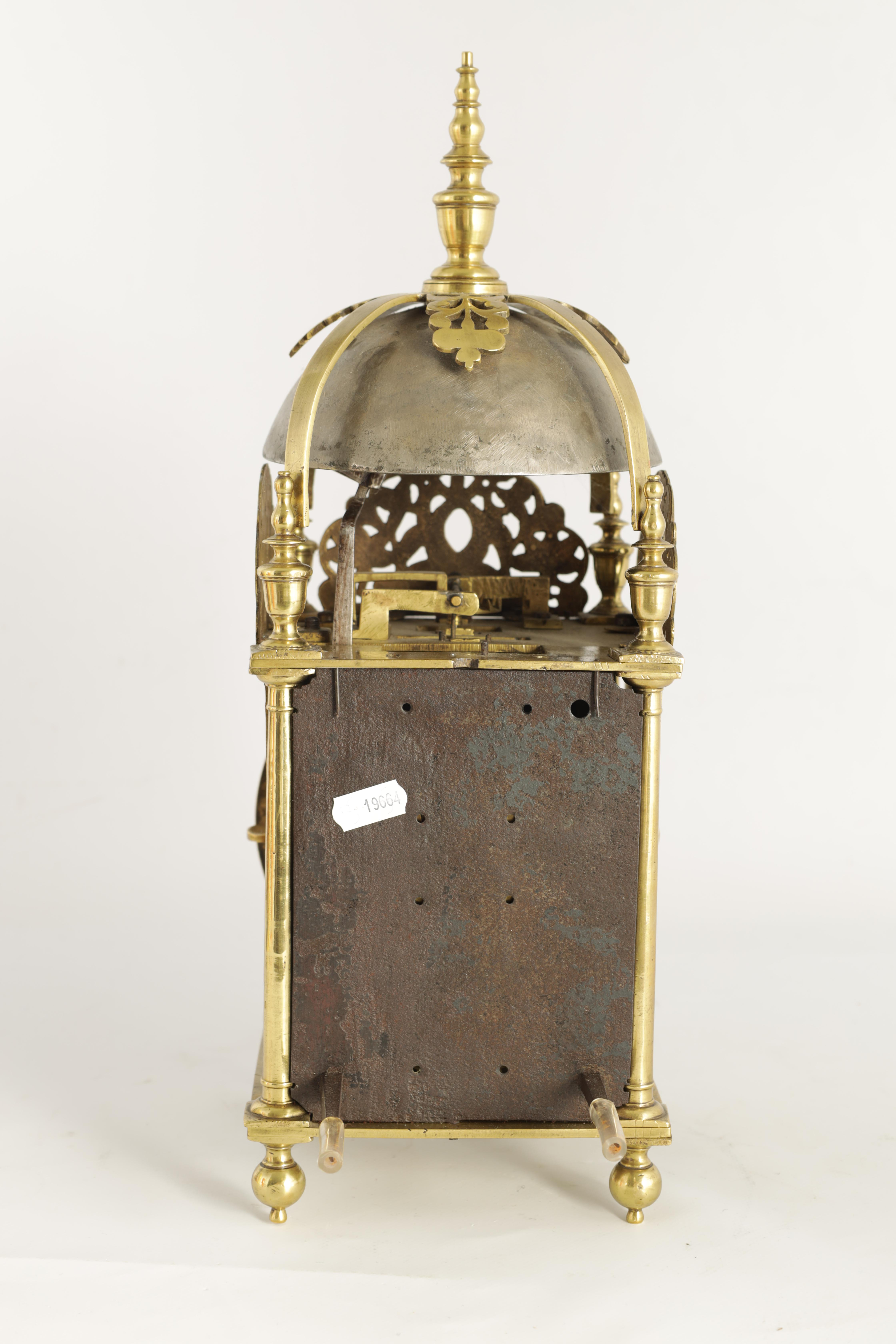 A FINE CHARLES II BRASS LANTERN CLOCKthe posted frame with side doors, engraved fretwork - Image 5 of 9