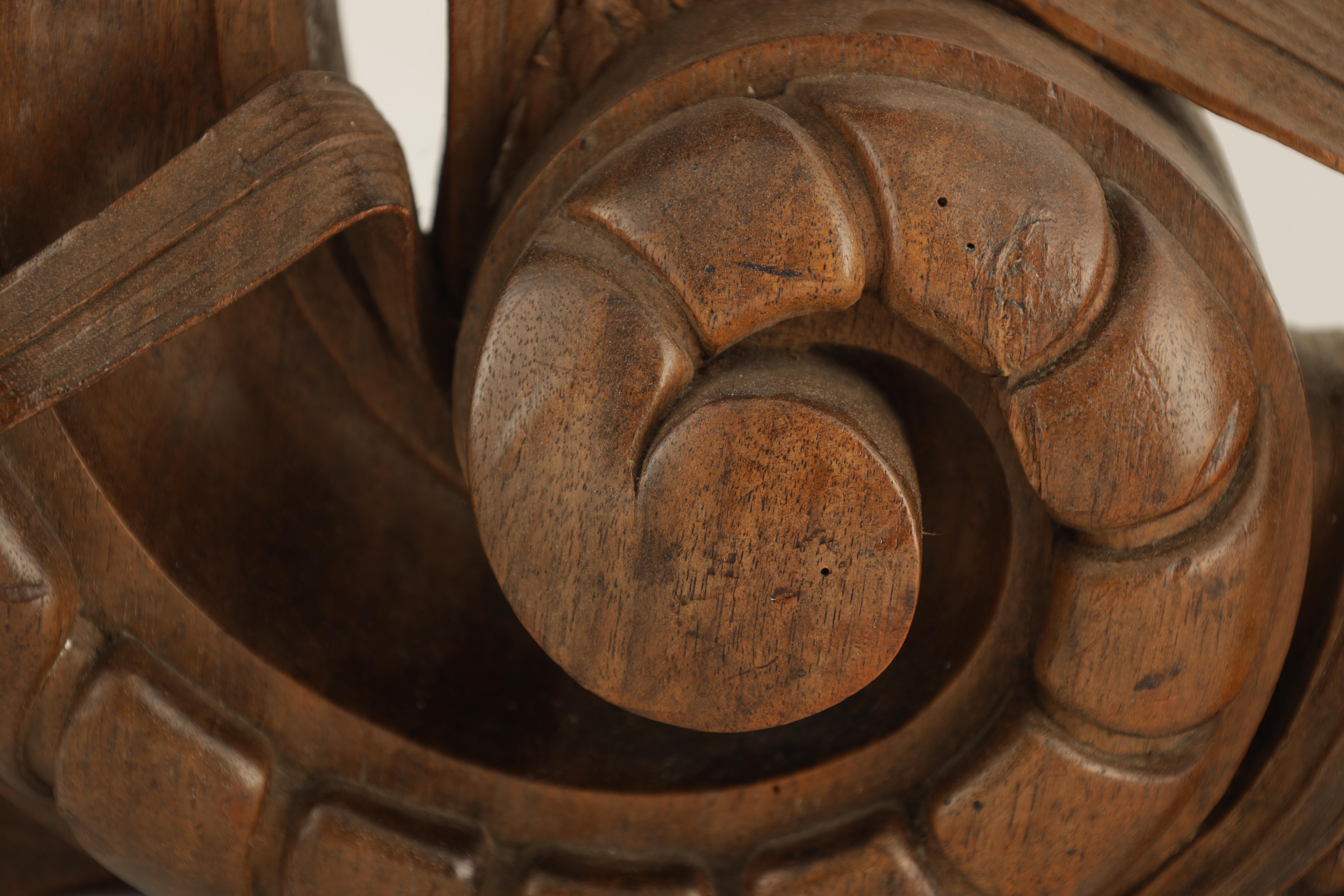 A 19TH CENTURY WALNUT CARVING OF A CARP next to a gadrooned scroll with reeds 49cm wide 38cm high - Image 3 of 6