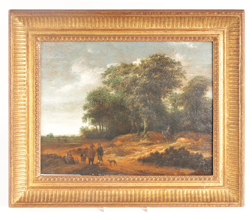 SALOMON ROMBOUTS (1655-1702) A DUTCH 17TH CENTURY OIL ON BOARD depicting figures in a tree-lined - Image 2 of 5