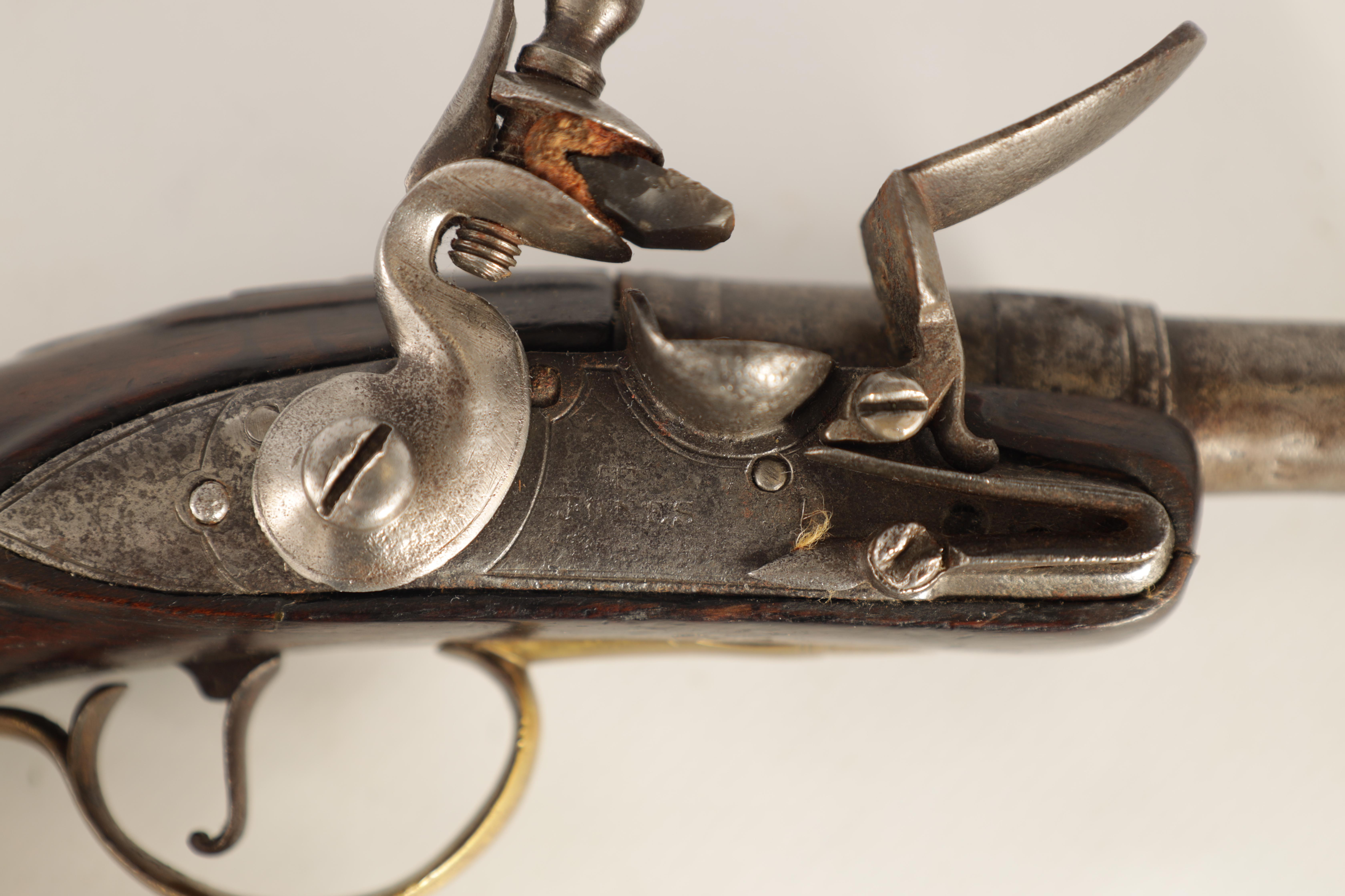 T. JONES. A PAIR OF EARLY 18TH CENTURY FLINTLOCK POCKET PISTOLS with turn-off cannon barrel, - Image 3 of 14