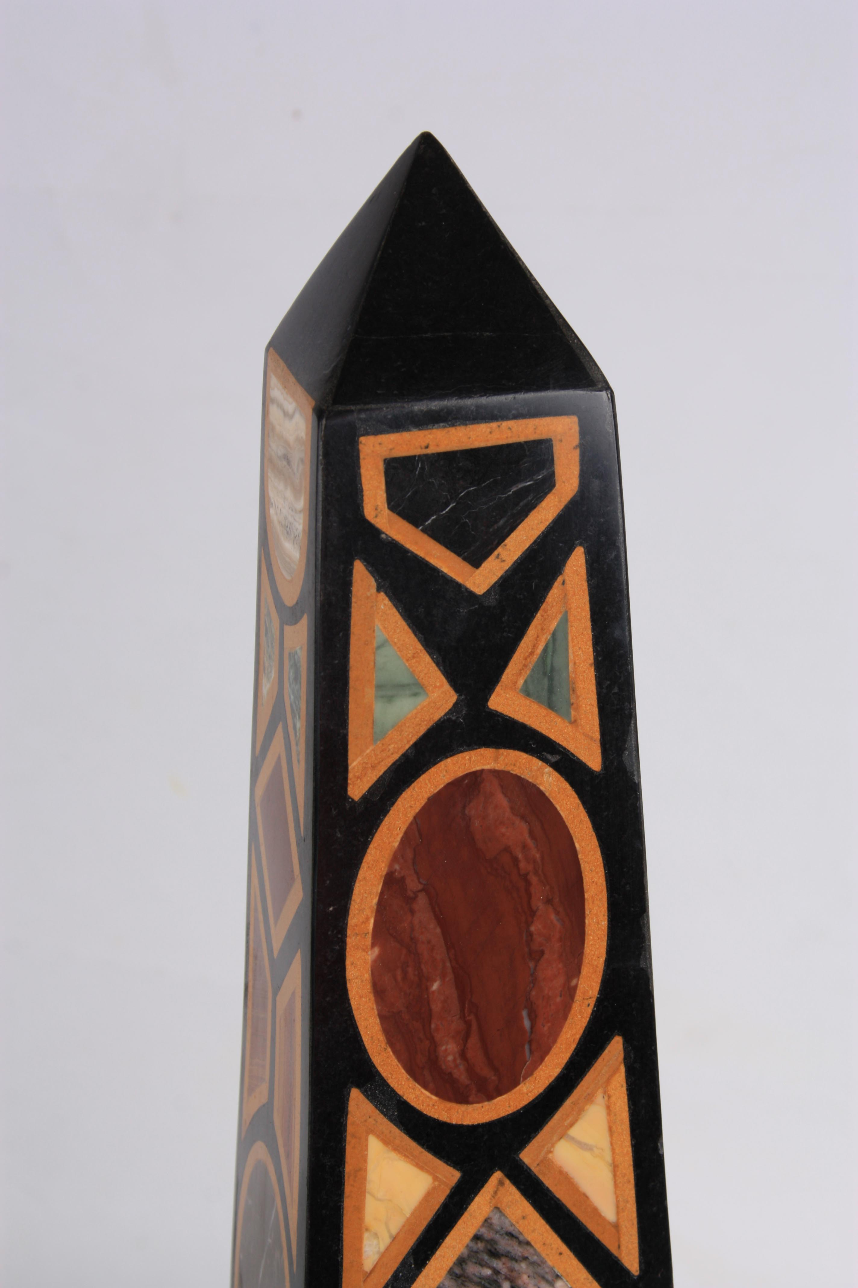 A LARGE AND IMPRESSIVE PAIR OF 20TH CENTURY REGENCY STYLE SPECIMEN MARBLE OBELISKS inlaid with - Image 4 of 7