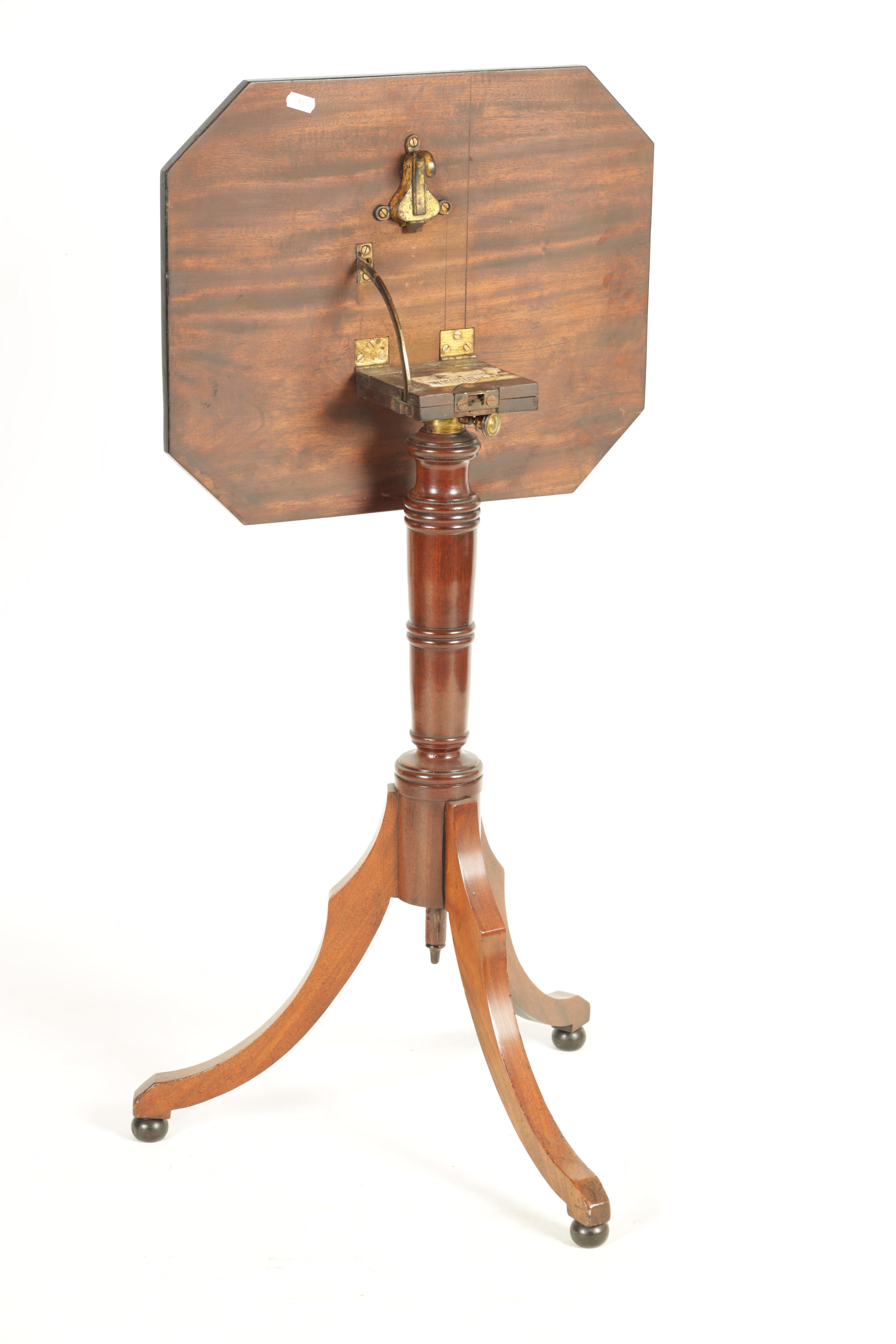 A REGENCY MAHOGANY ADJUSTABLE OCCASIONAL/READING TABLE with clipped corners and tilting top, - Image 6 of 9