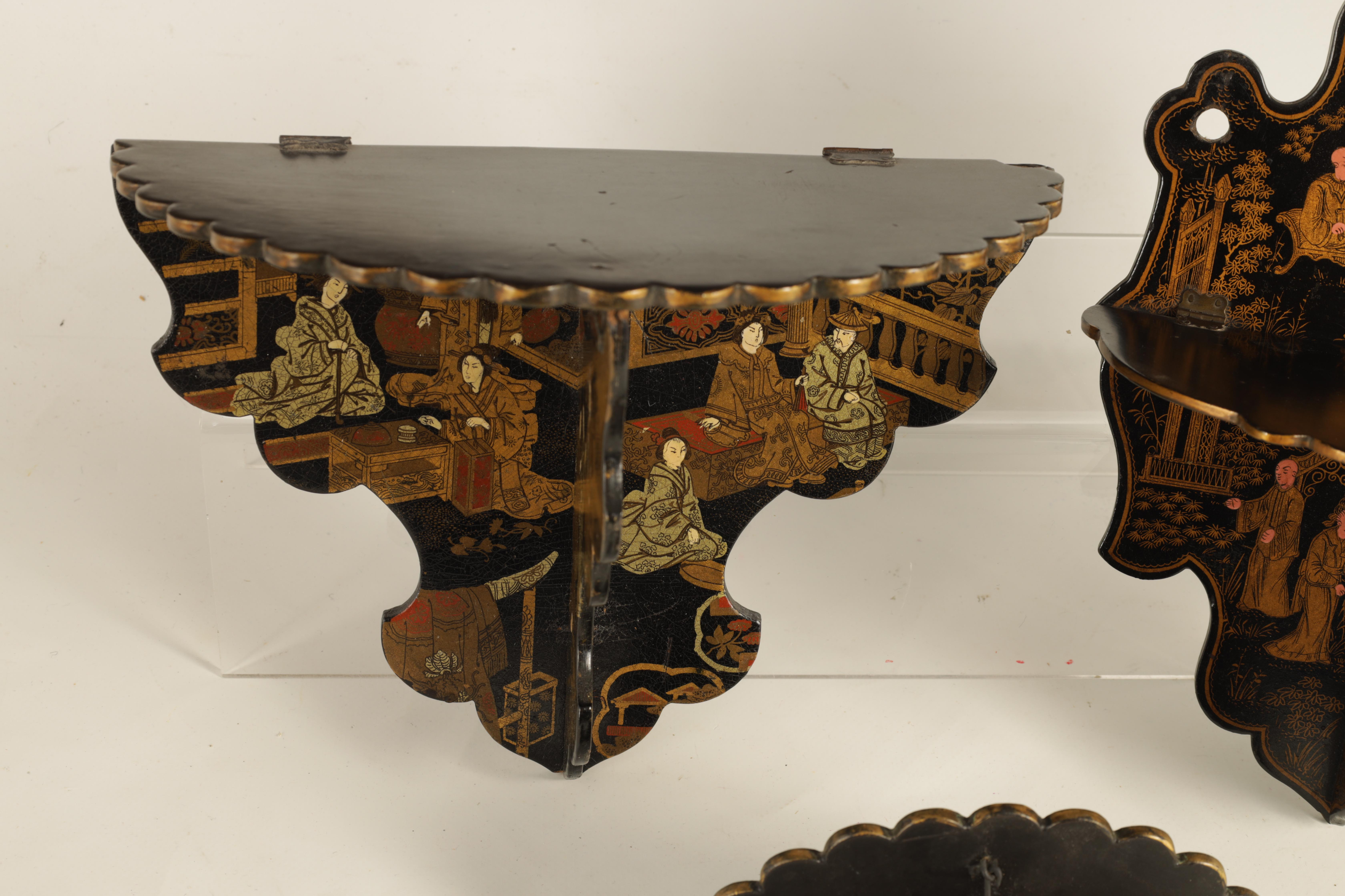 A GROUP OF THREE LATE 19TH CENTURY JAPANESE BLACK LACQUER FOLDING HANGING BRACKETS of shaped form - Image 8 of 12