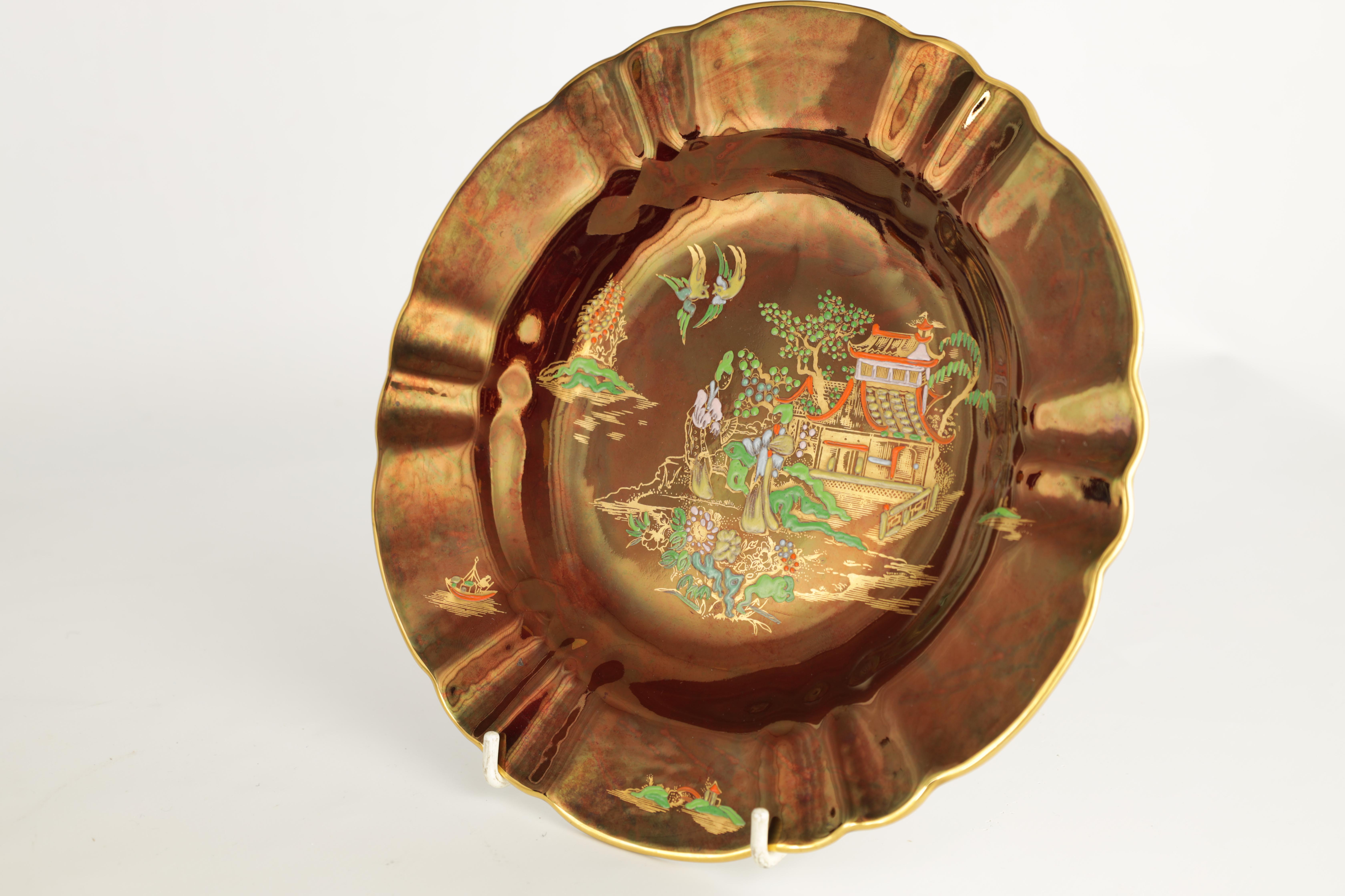 A CARLTON WARE FIVE PIECE DRESSING TABLE SET decorated in an oriental gilt pattern with pagodas - Image 5 of 18