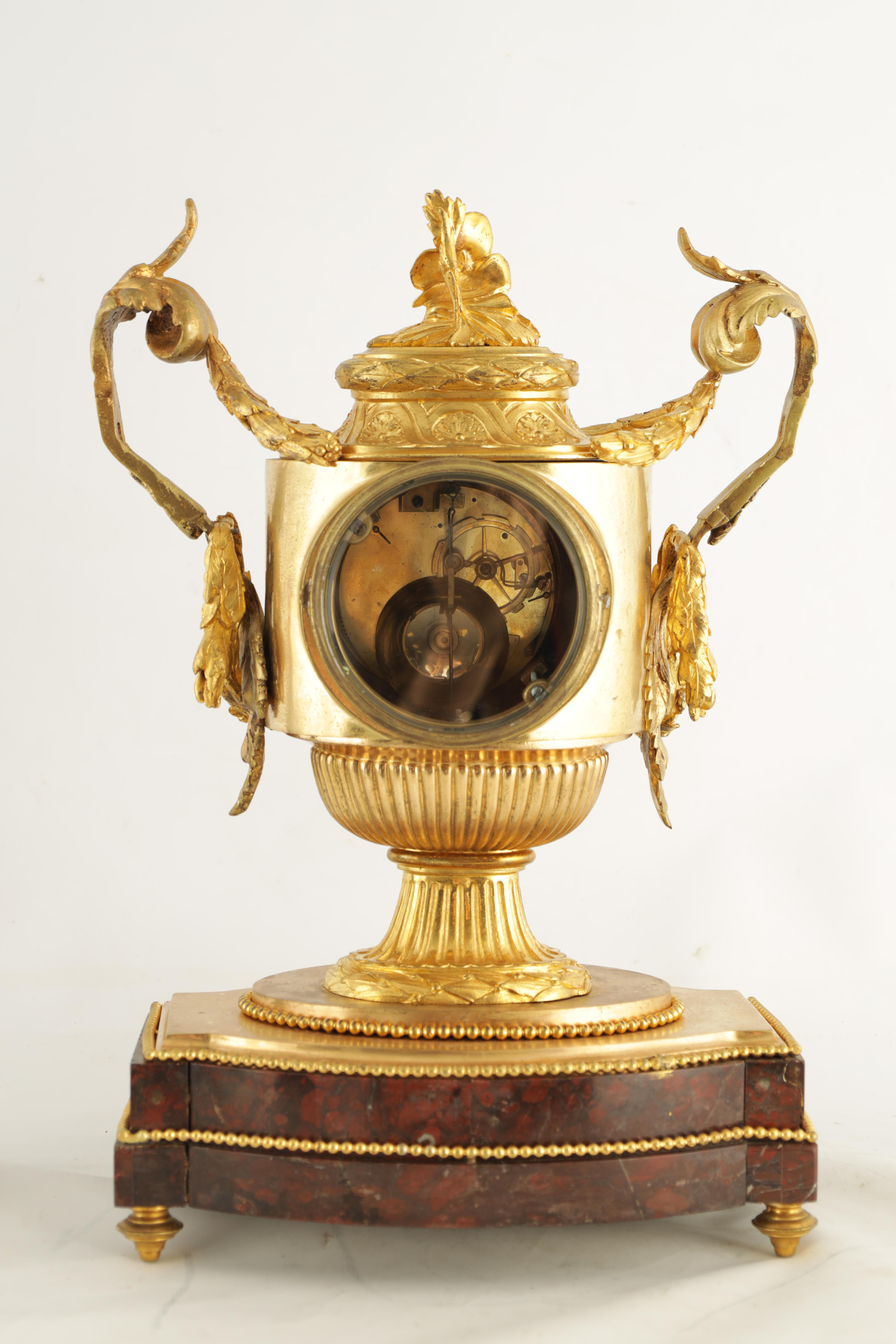 GASTON JOLY, A PARIS AN IMPRESSIVE EARLY 19TH CENTURY FRENCH ORMOLU AND ROUGE MARBLE URN SHAPED - Image 6 of 7
