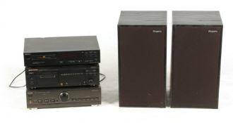A PAIR OF SPEAKERS BY ROGERS LS6A, A TECHNICS V 620 MARK II stereo amplifier SU-V620M2, MARANTZ