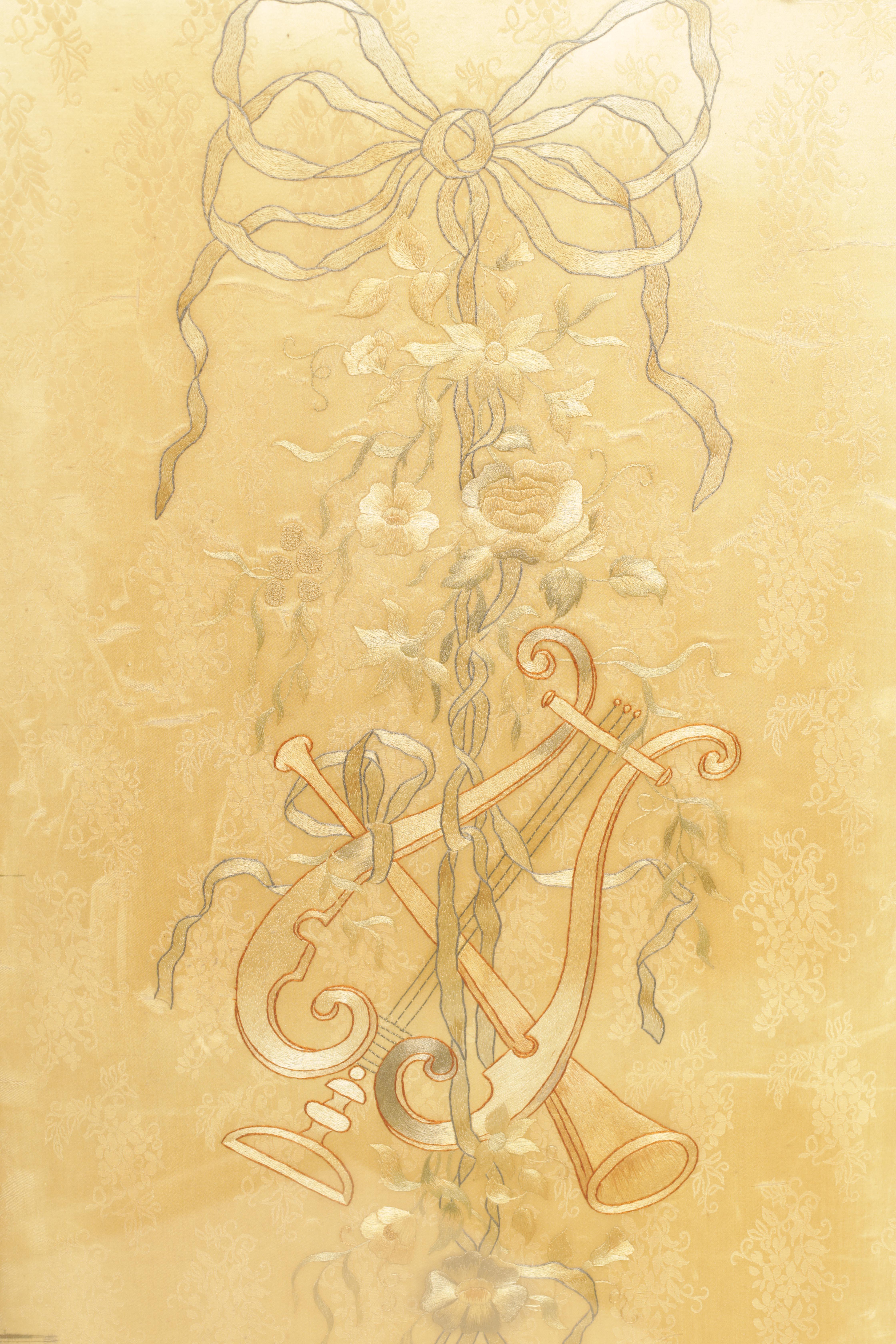 A 19TH CENTURY FRENCH ROCOCO WALNUT FOLDING SCREEN having original silk tapestry panels below - Image 5 of 8