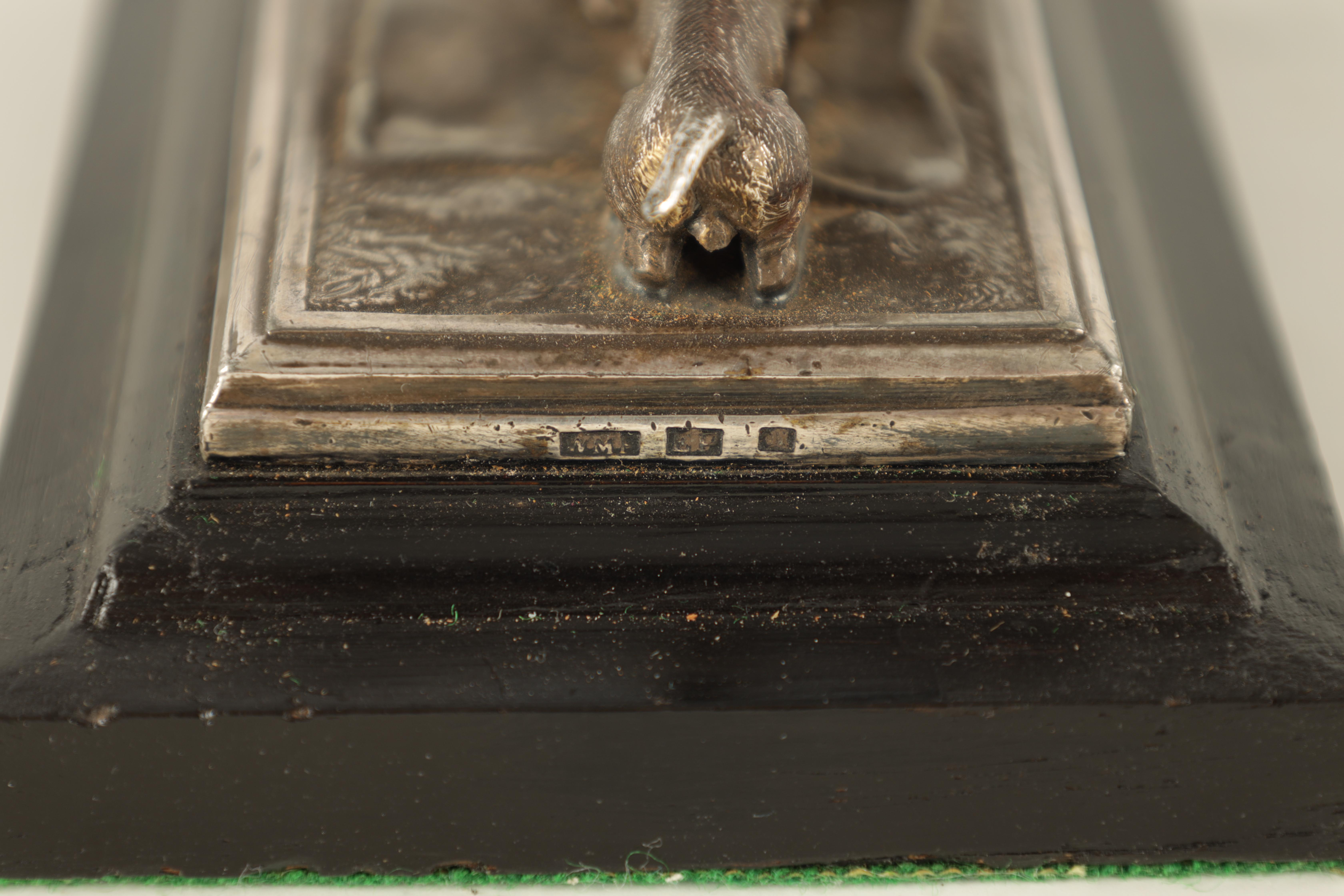 AN UNUSUAL 19TH CENTURY W.M.F. SILVERED METAL DESK PAPERWEIGHT depicting a small child with a - Image 5 of 5