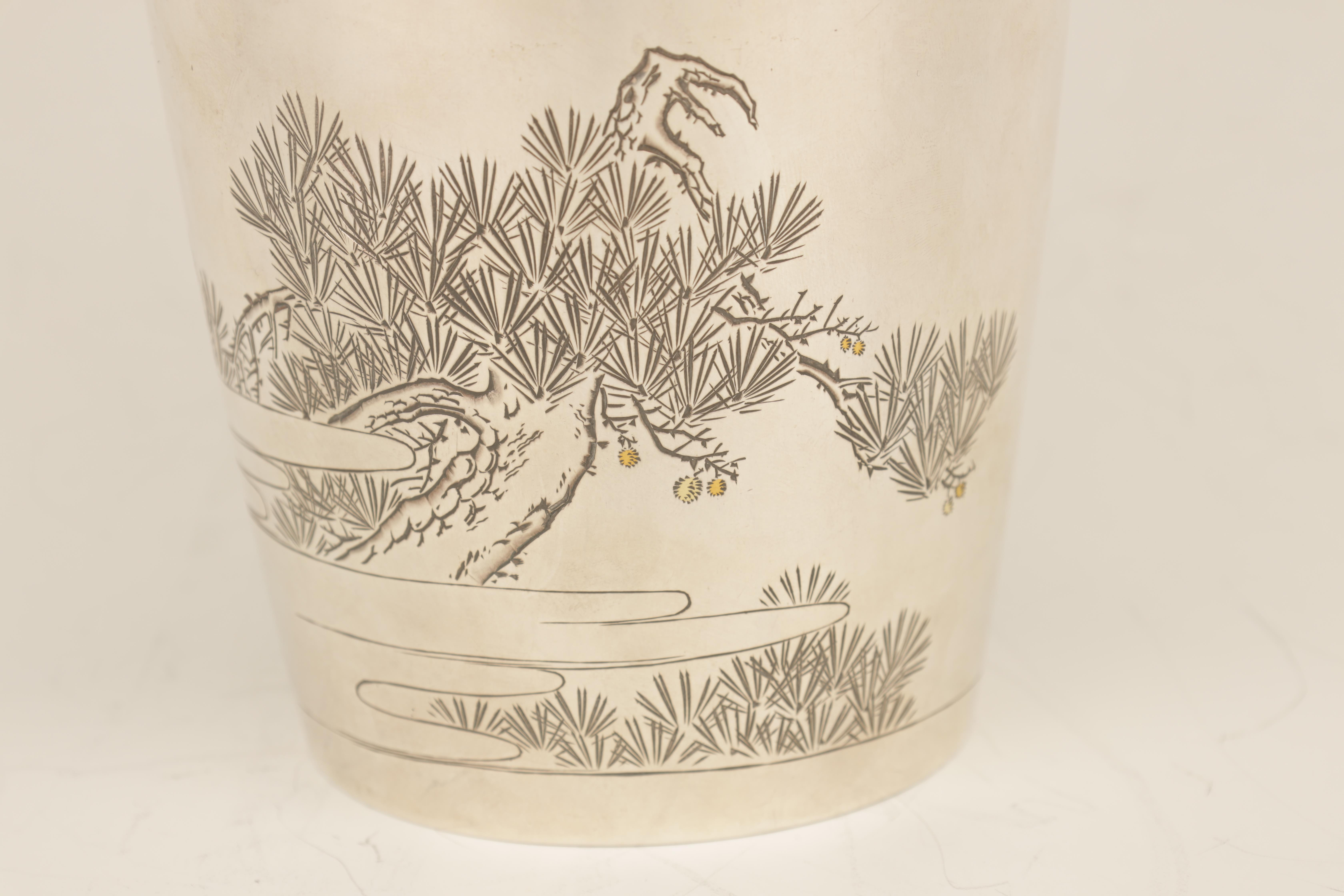 A LARGE JAPANESE MEIJI PERIOD SILVER VASE embellished with gilt highlights and engraved scene of - Image 3 of 6