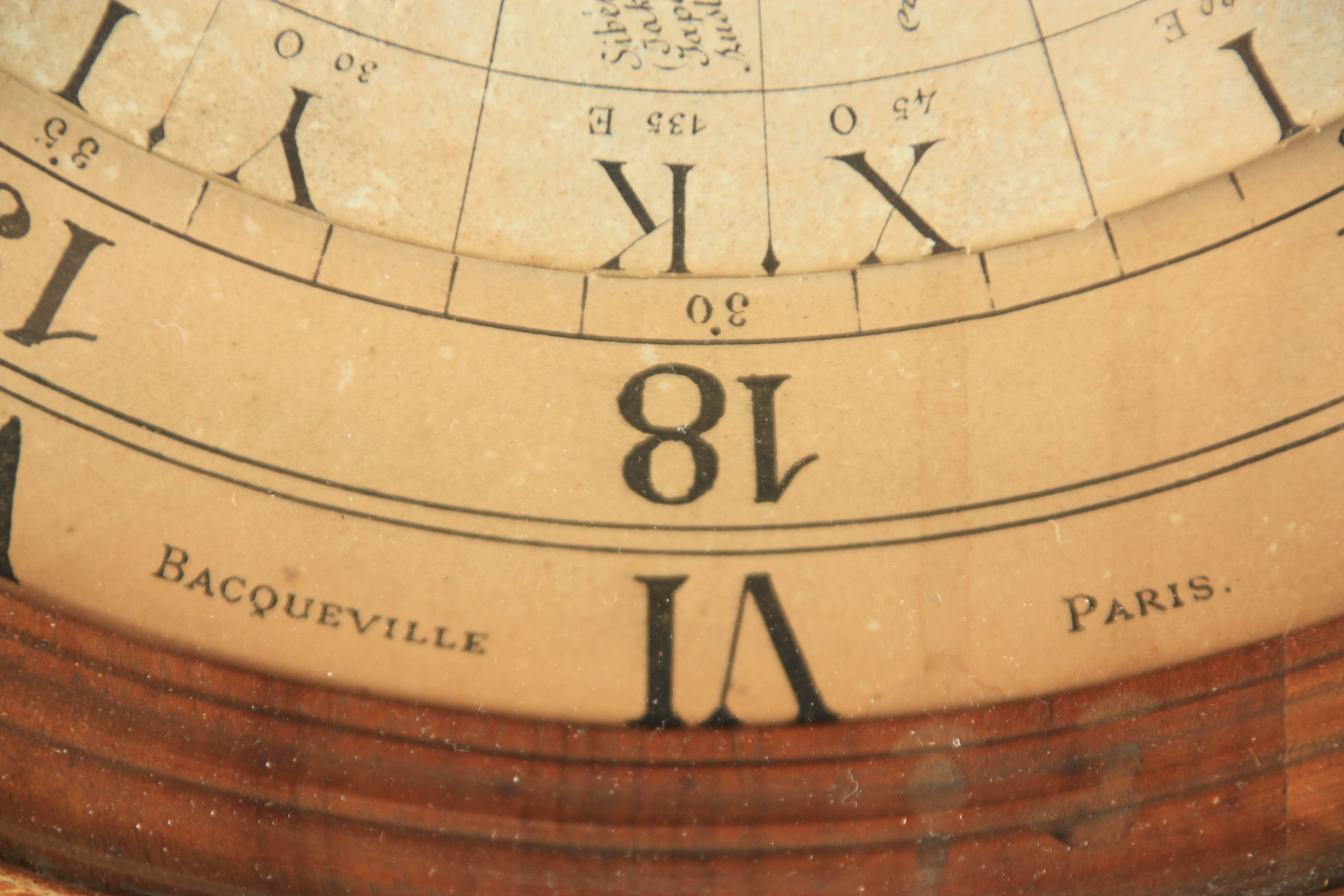 BACQUEVILLE, PARIS A UNIQUE LATE 19TH CENTURY LIMED OAK AND WALNUT WORLD TIME CLOCK the case with - Image 4 of 5
