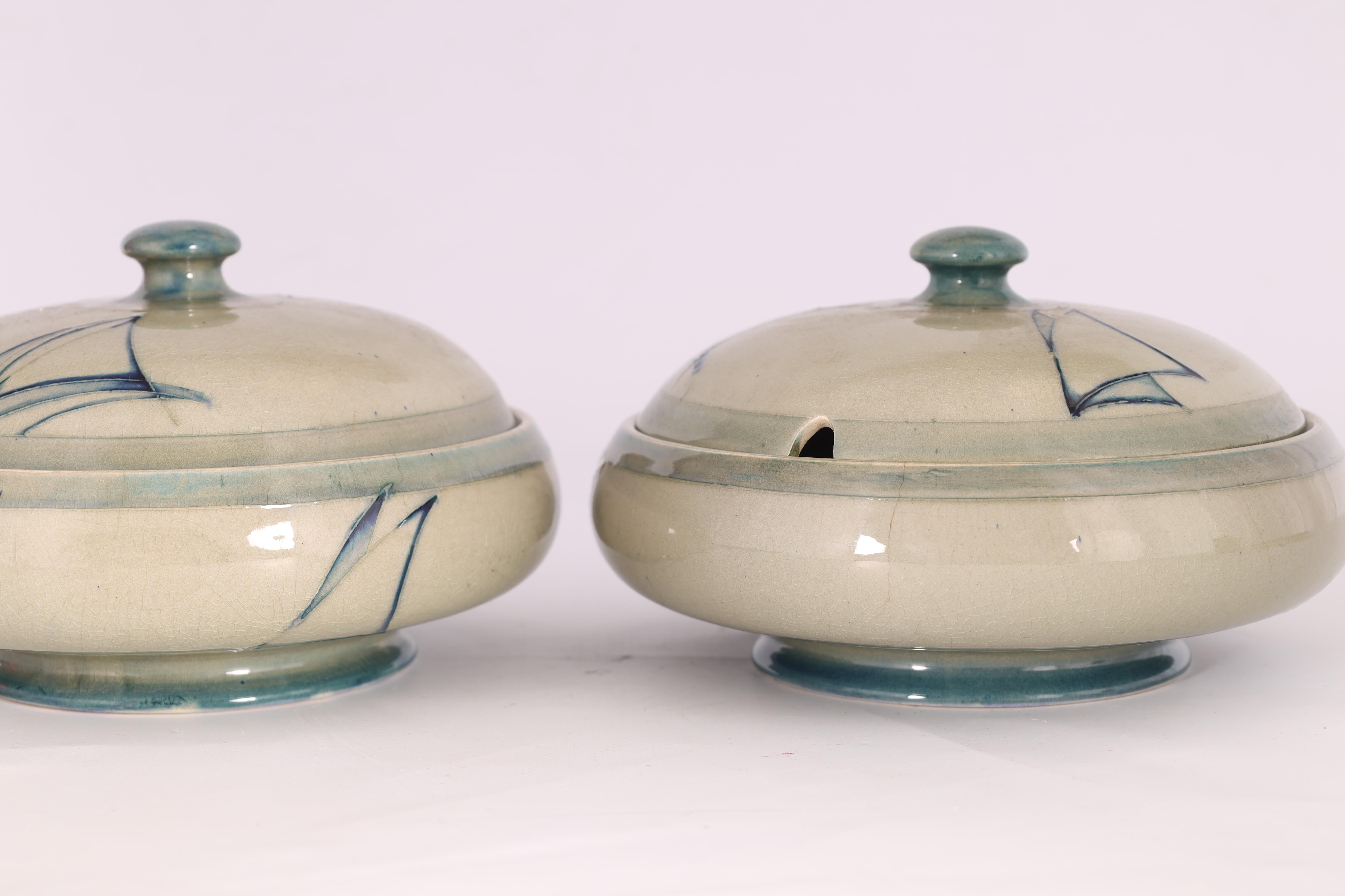 A PAIR OF MOORCROFT LIDDED TABLE TUREENS decorated in the Yacht pattern on a celadon ground, 19. - Image 5 of 12