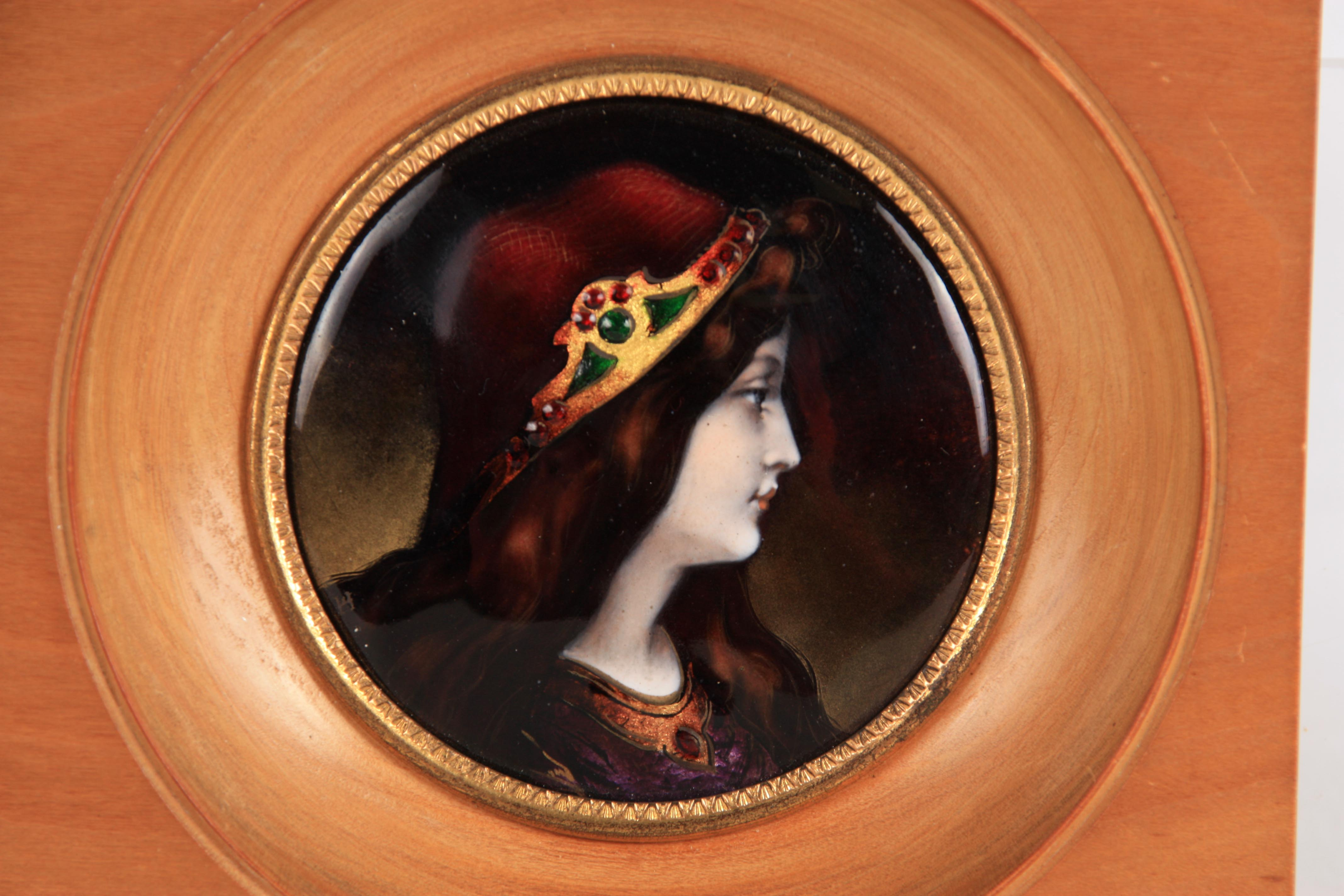 A PRE RAPHAELITE STYLE EARLY 20TH CENTURY LIMOGES ENAMEL CONVEX PANEL depicting the portrait of a - Image 3 of 4