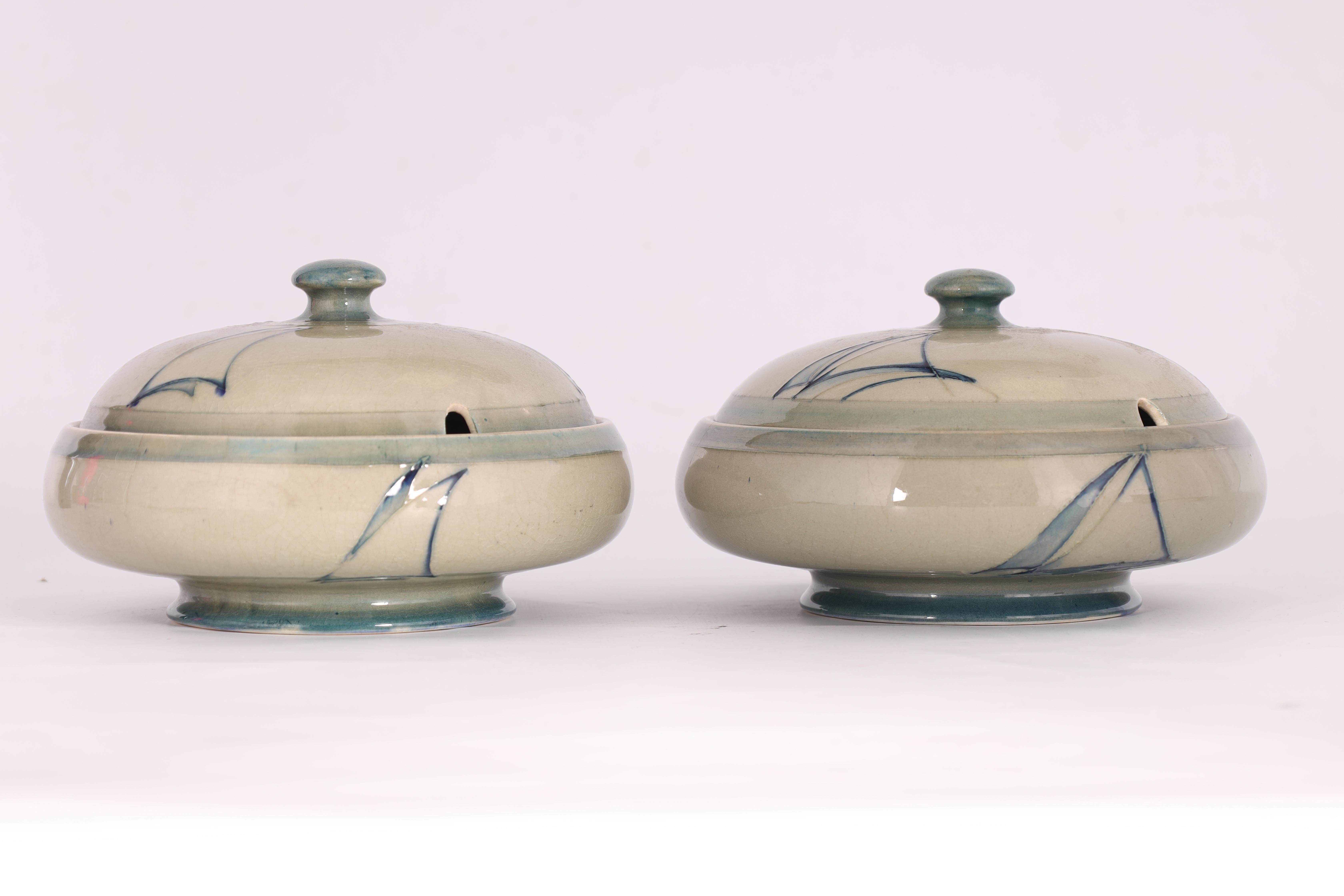 A PAIR OF MOORCROFT LIDDED TABLE TUREENS decorated in the Yacht pattern on a celadon ground, 19. - Image 11 of 12