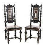A PAIR OF LATE 19TH CENTURY EBONISED AND BONE INLAID ITALIAN SIDE CHAIRS with finely inlaid