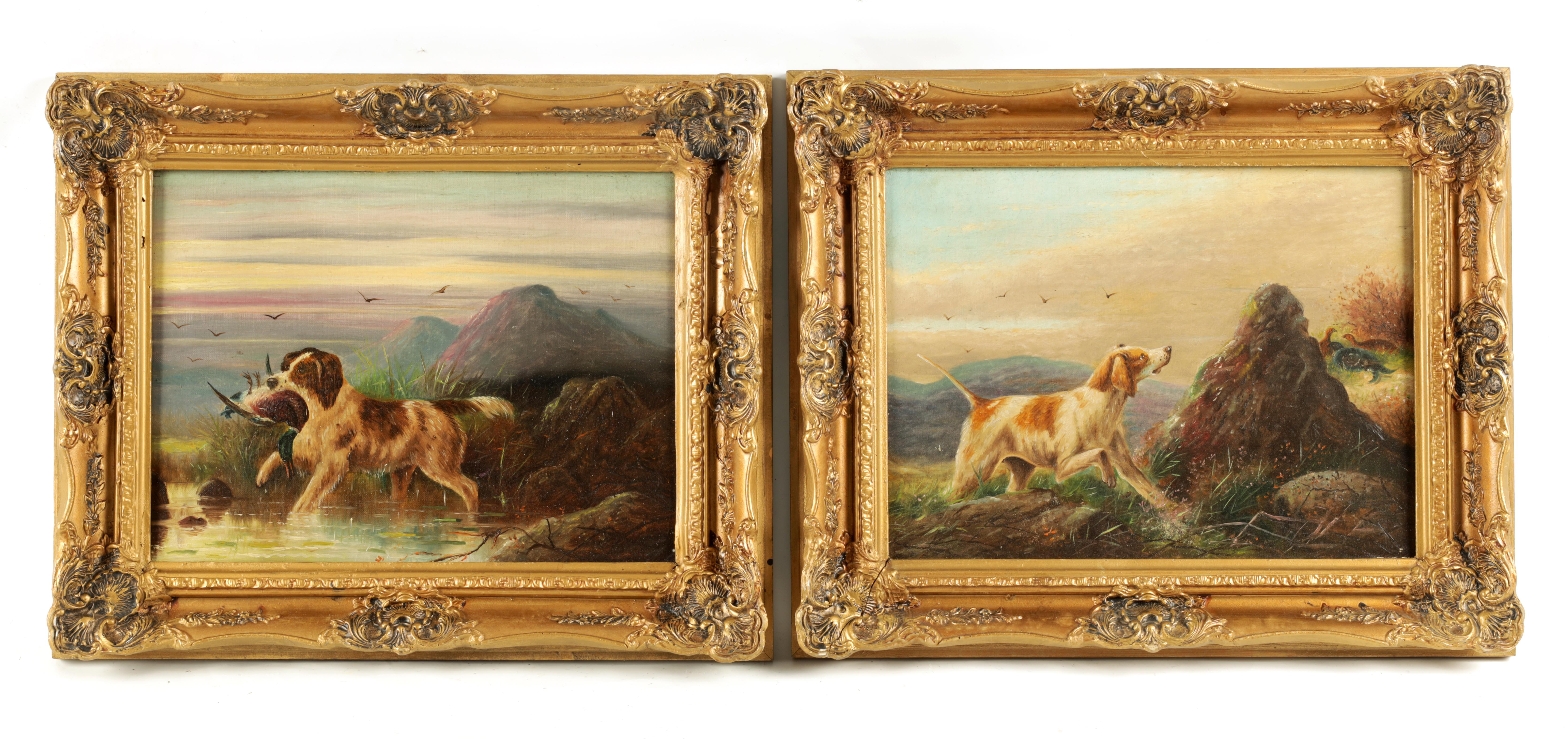 JAMES PRICE A PAIR OF EARLY 20TH CENTURY OILS ON CANVAS titled and signed on reverse 'Spaniel and