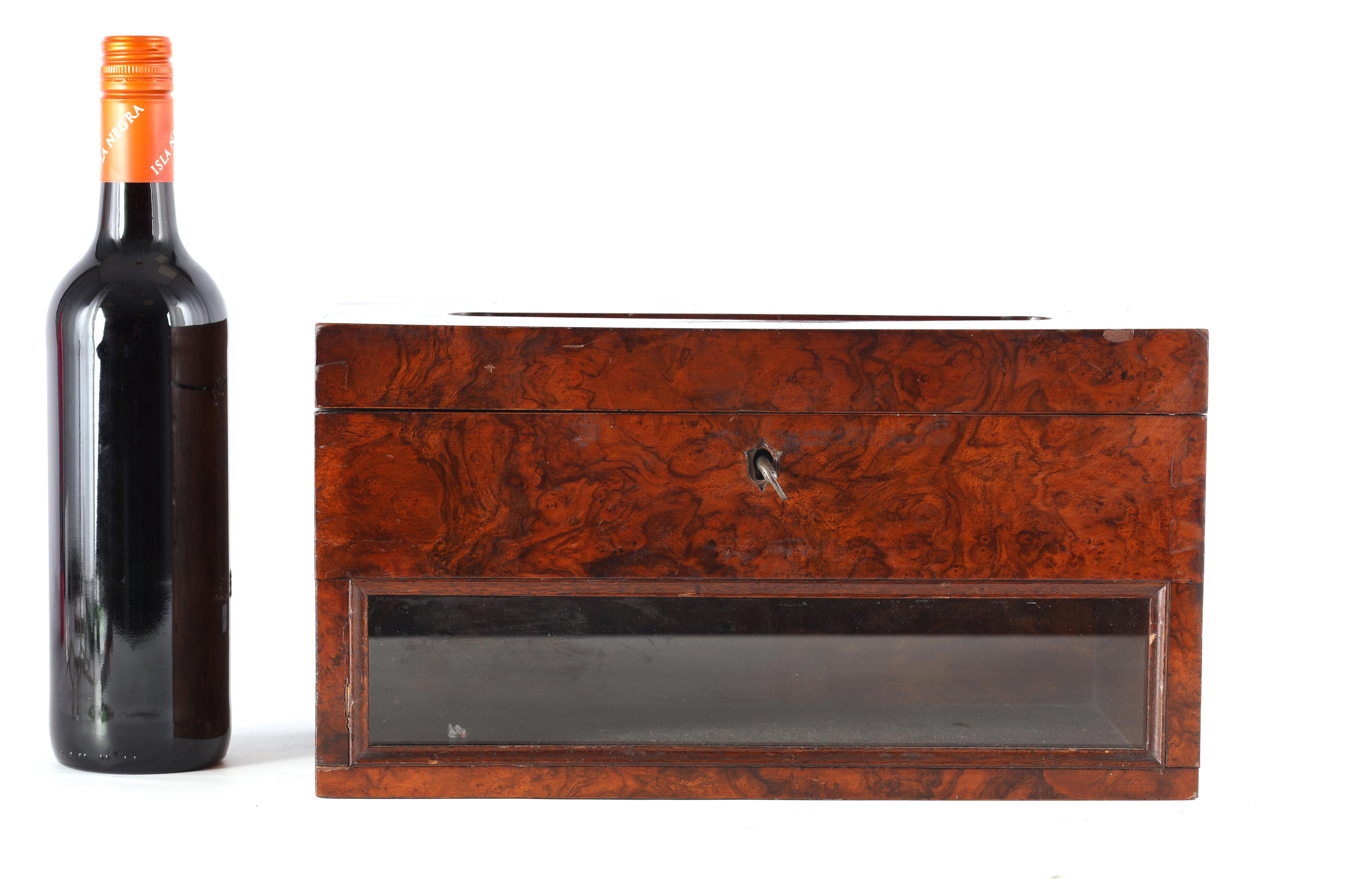 A 19TH CENTURY BURR WALNUT COUNTRY HOUSE LETTERBOX with brass inlaid plaque engraved General Post, - Image 2 of 7