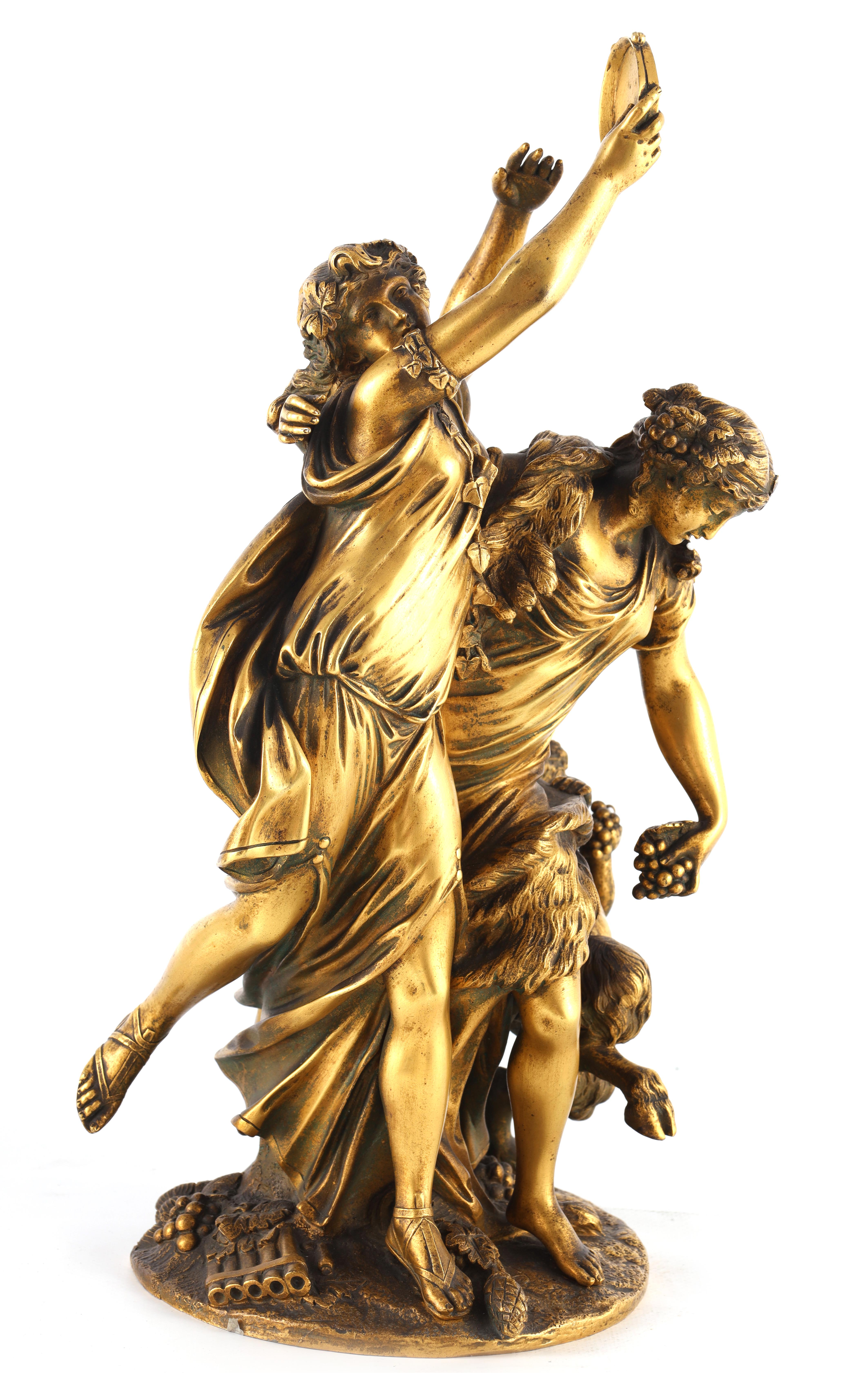 AFTER MICHAEL CLAUDE CLODION A LATE 19TH CENTURY FRENCH GILT BRONZE SCULPTURE titled 'Bacchanalia'