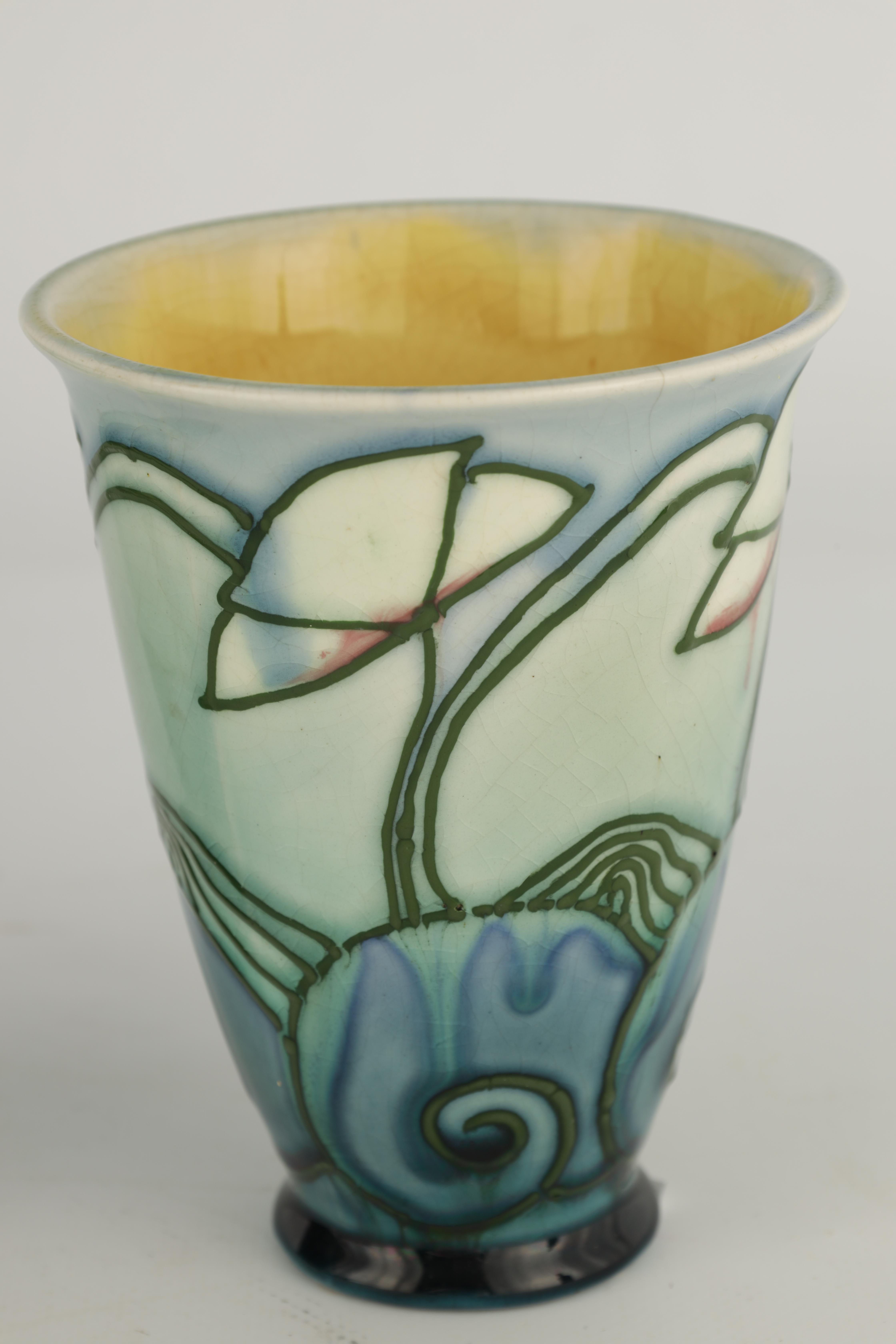 A PAIR OF MINTON LTD SECESSIONIST WARE TAPERING BEAKER VASES tube lined and decorated with - Image 4 of 6