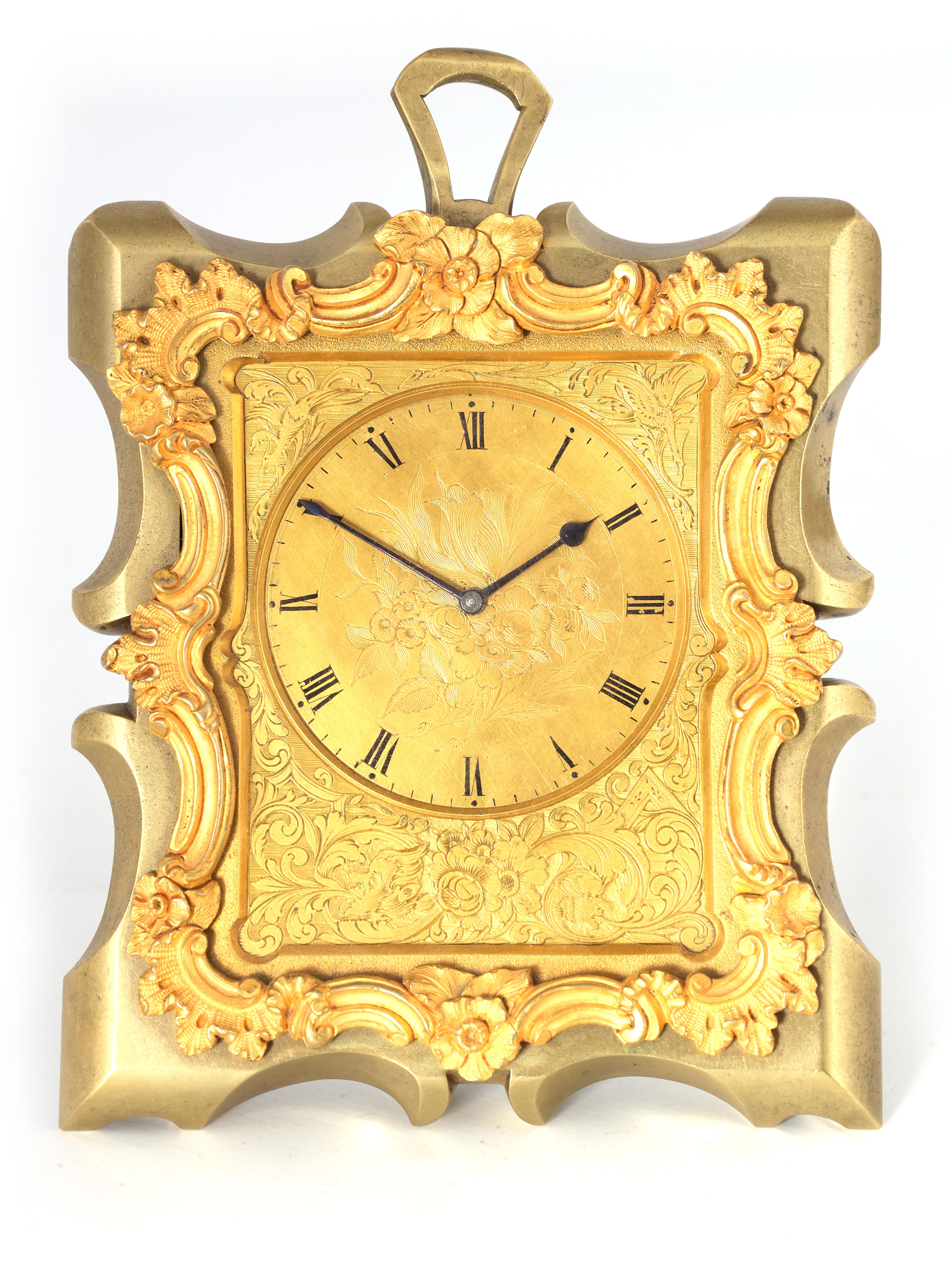 KLEYSER & CO. 66 HIGH STREET, LONDON A MID 19TH CENTURY BRASS STRUT CLOCK IN THE MANNER OF THOMAS