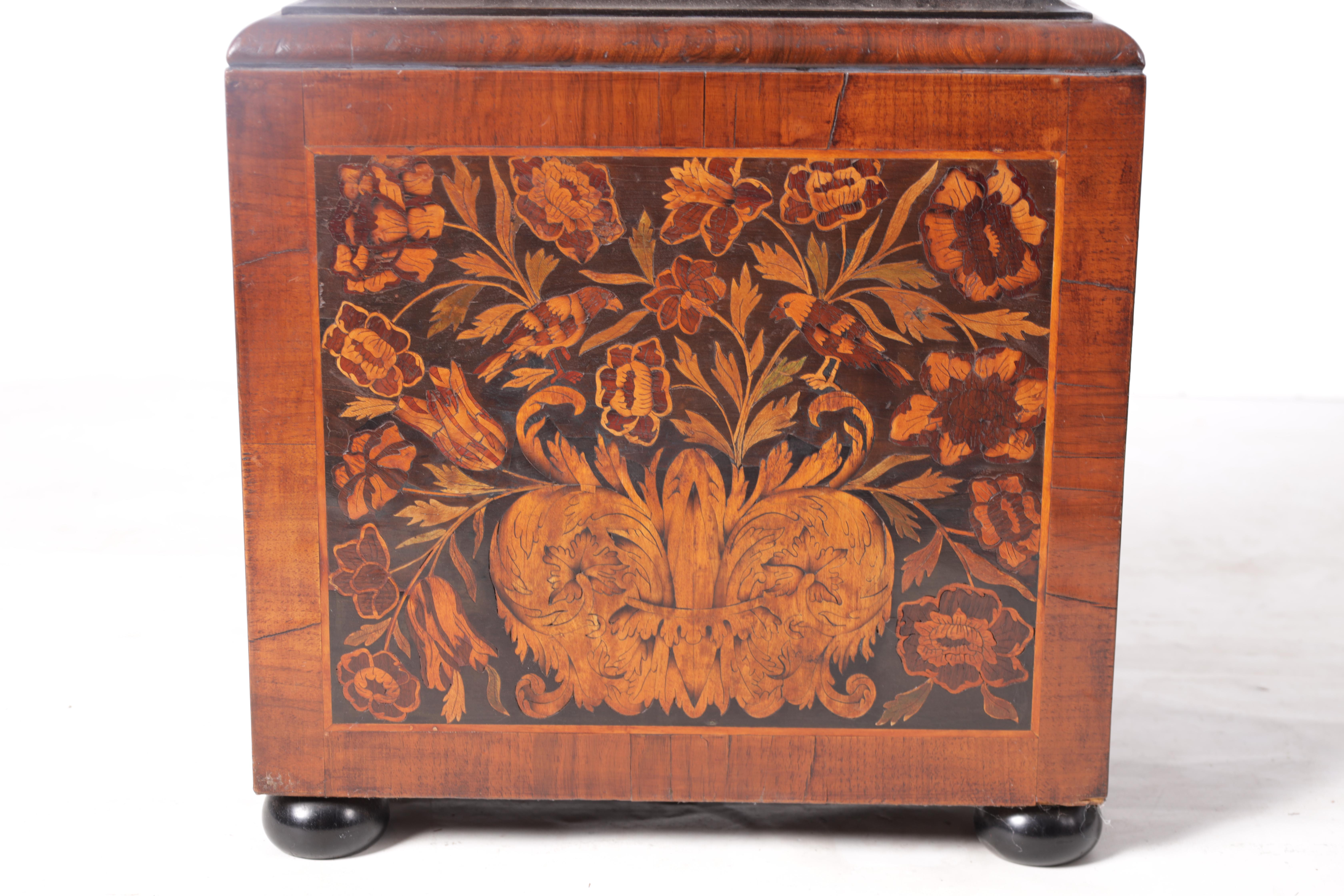 """ROBERT DINGLY, LONDON A LATE 17TH CENTURY 11"""" MARQUETRY INLAID WALNUT LONGCASE CLOCK the hood with - Image 6 of 8"""