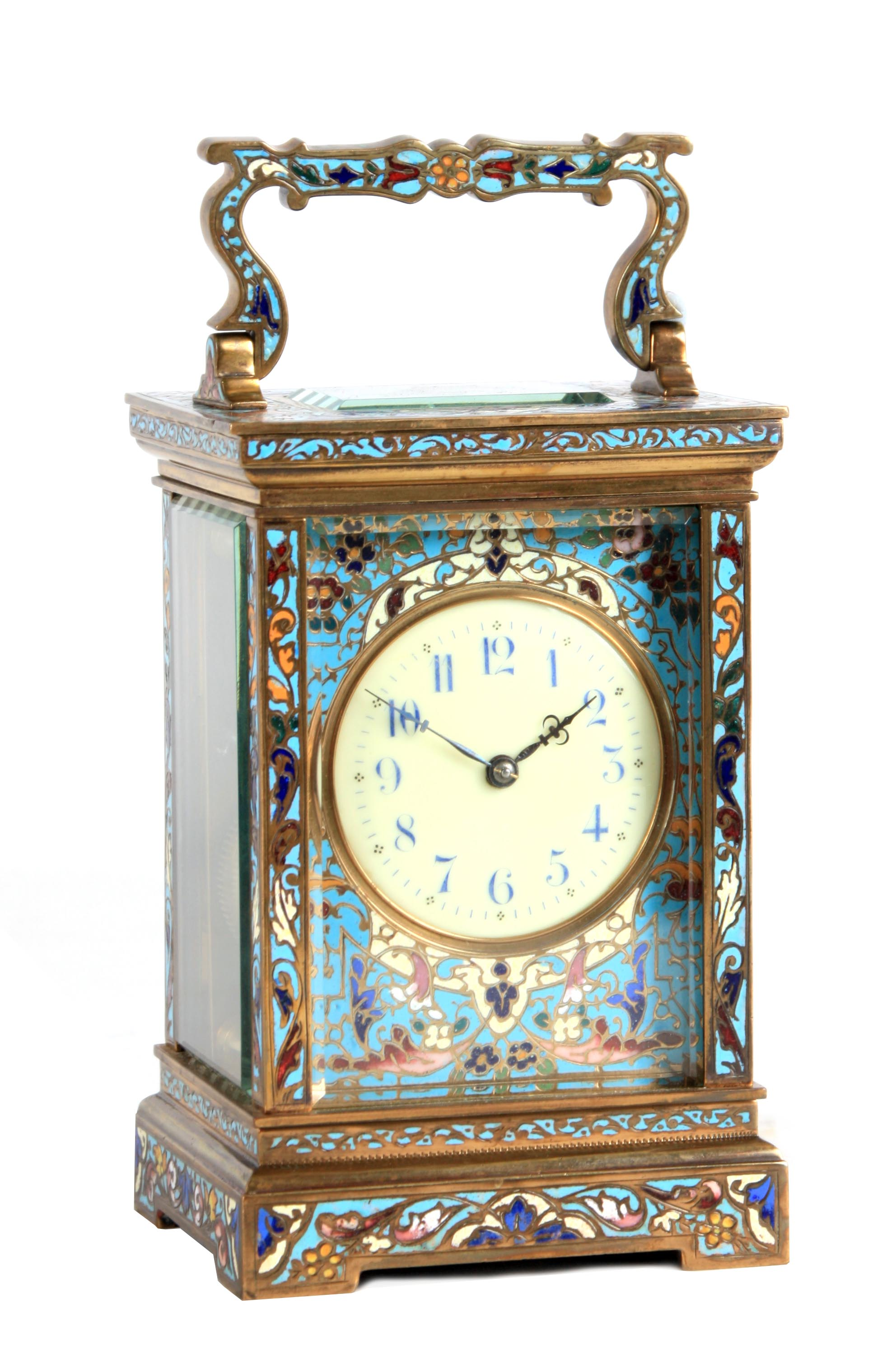 A LATE 19TH CENTURY FRENCH CHAMPLEVE ENAMEL STRIKING CARRIAGE CLOCK the case covered in champleve